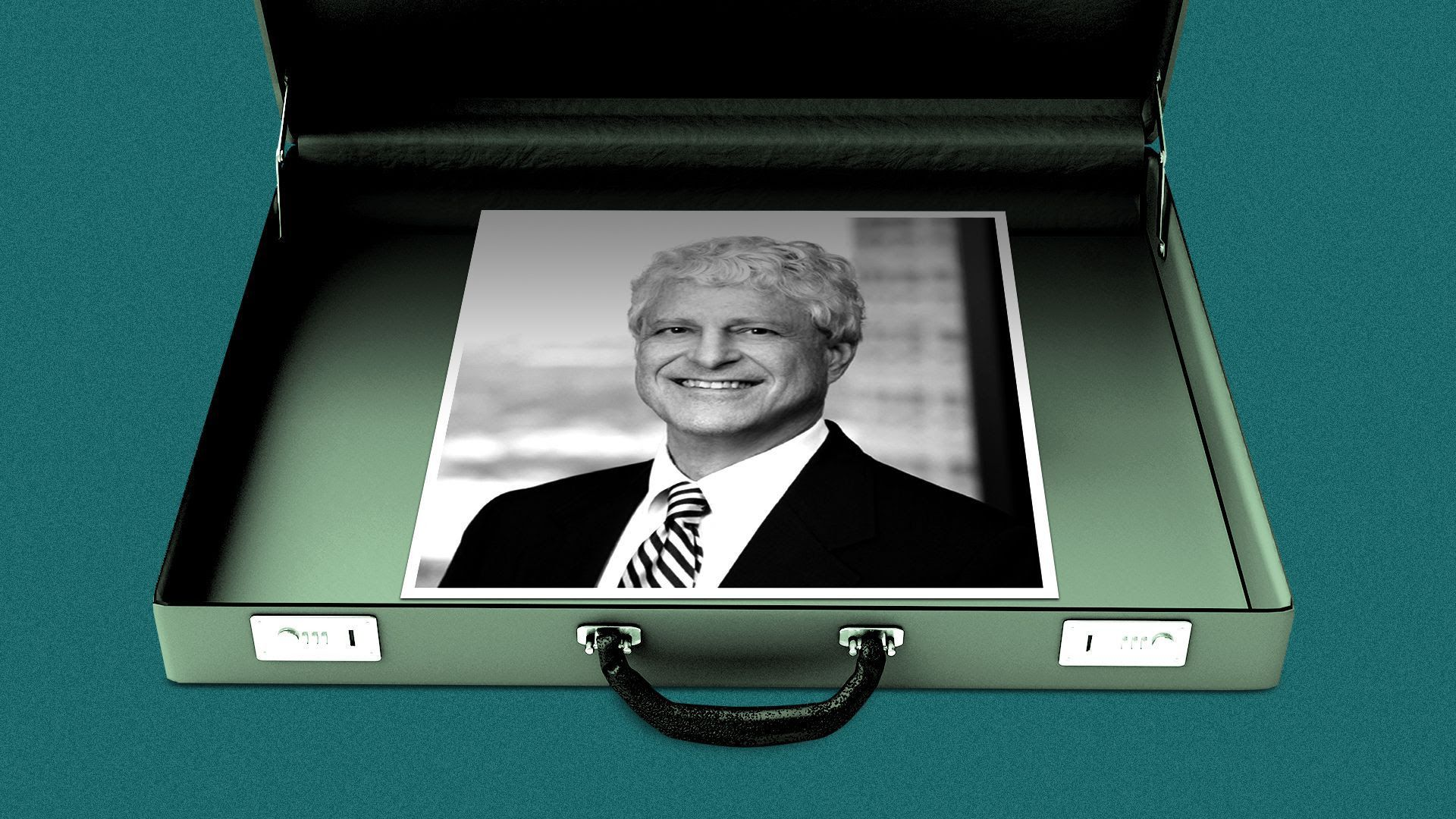 Headshot of Gregory Yadley inside of an illustration of a briefcase