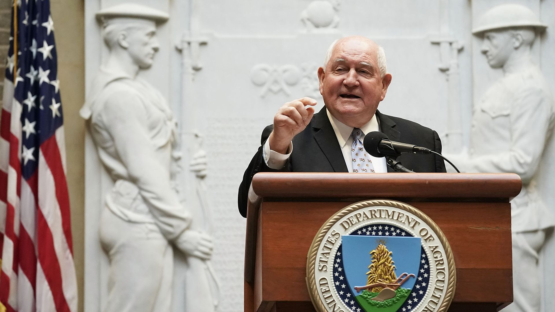 Secretary of Agriculture Sonny Perdue speaks during a forum April 18, 2018 in Washington, DC.