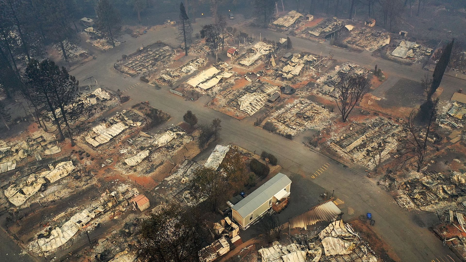 A view of a destroyed neighborhood in California