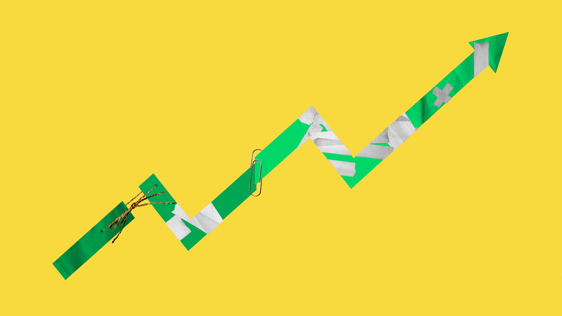 Illustration of an upward market trend line being held together with masking tape, string and a paperclip.