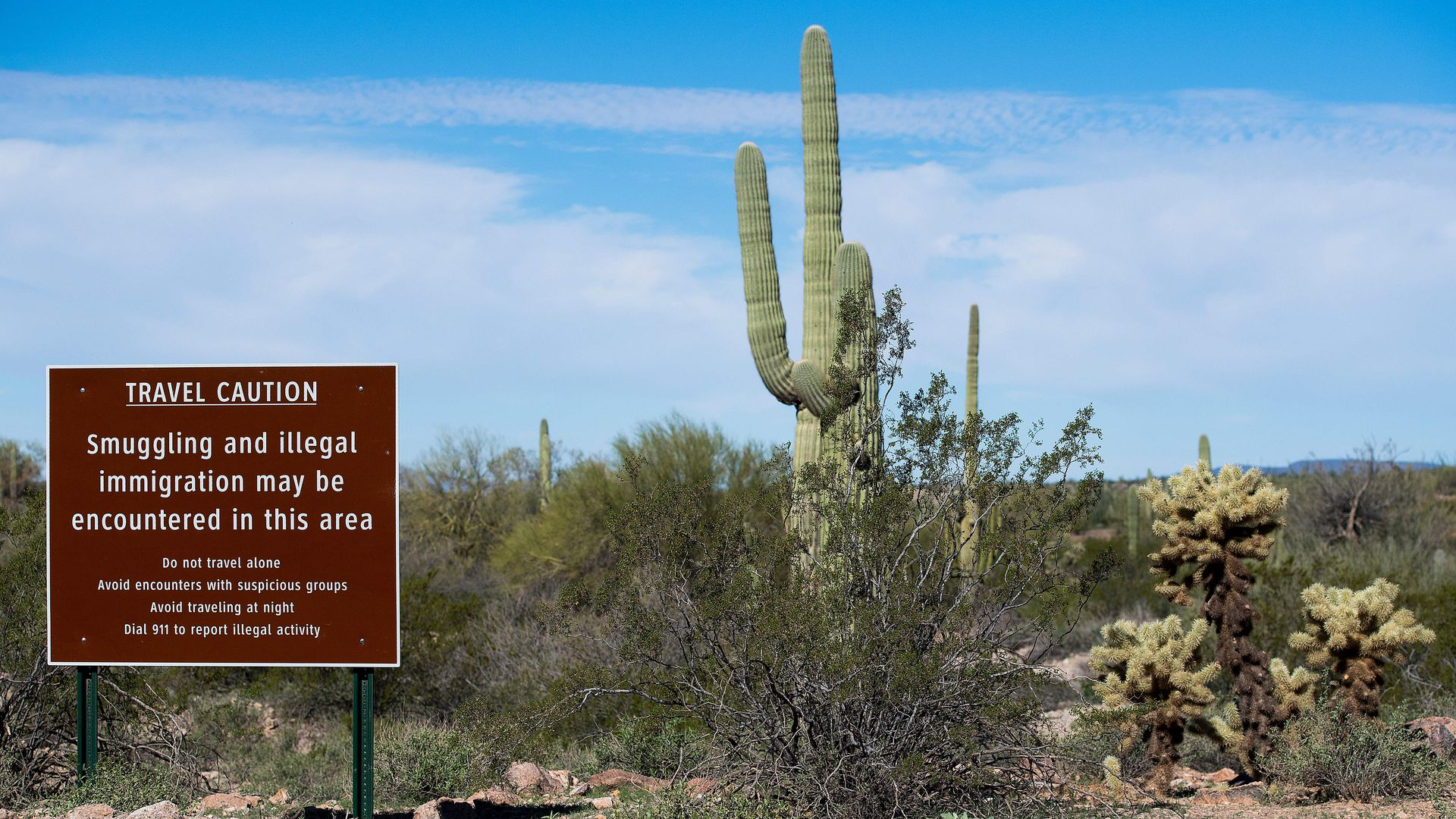 "This image shows a tall cactus standing to the right of a sign that reads ""Travel caution: Smuggling and illegal immigration may be encountered in this area"""