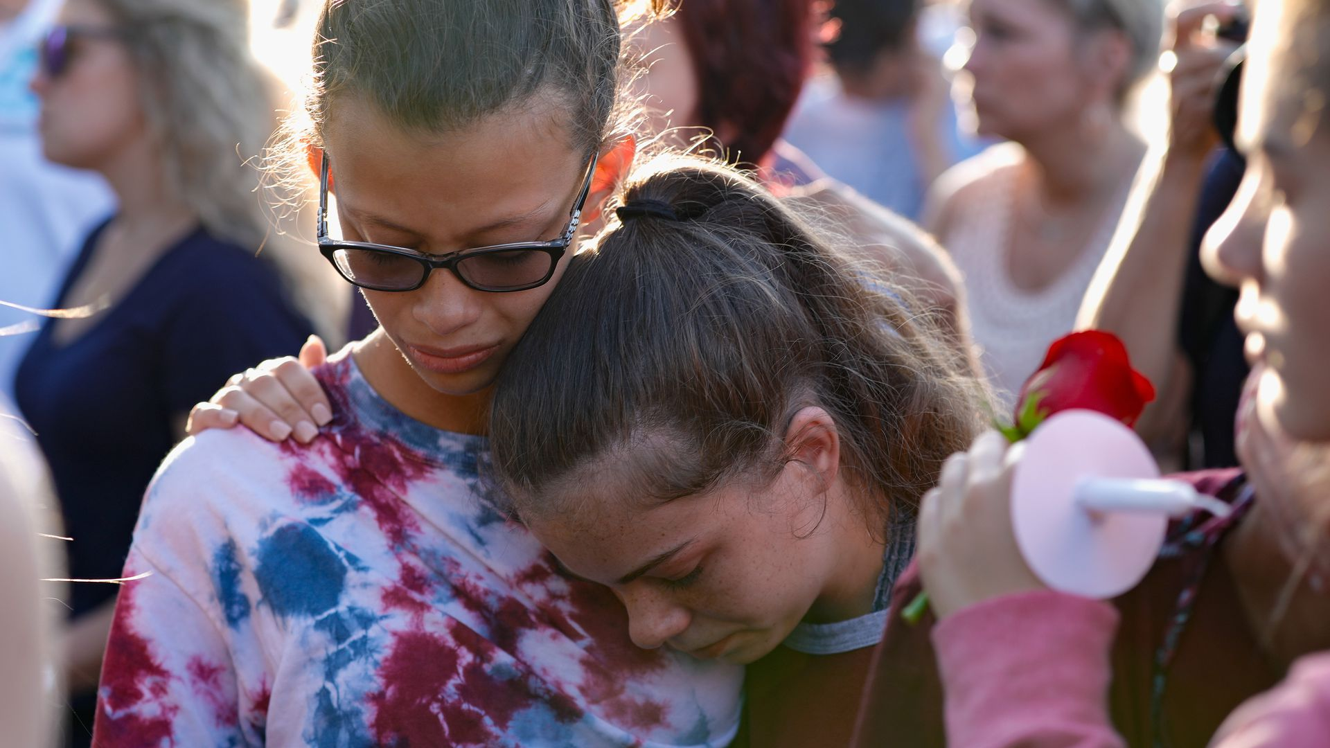 People after the Santa Fe shooting in Texas, which claimed 10 lives on Friday
