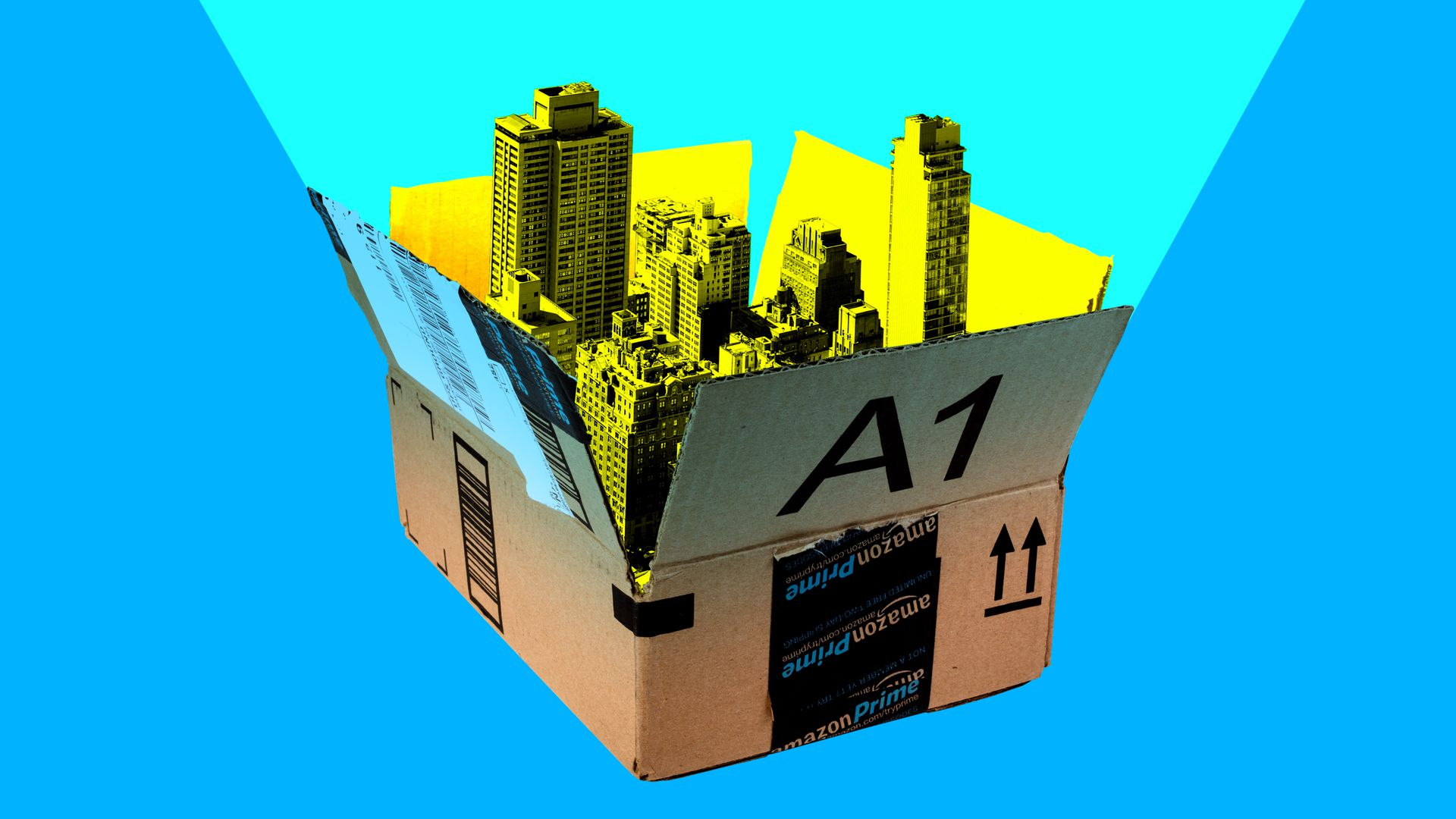 In this illustration, New York city skyscrapers peek out of an open Amazon box