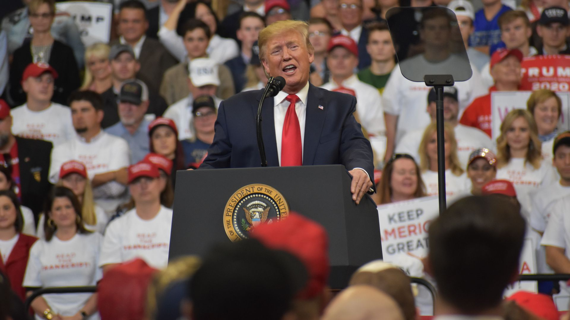President Donald J. Trump delivers remarks at a 'Keep America Great' rally in Lexington, Kentucky