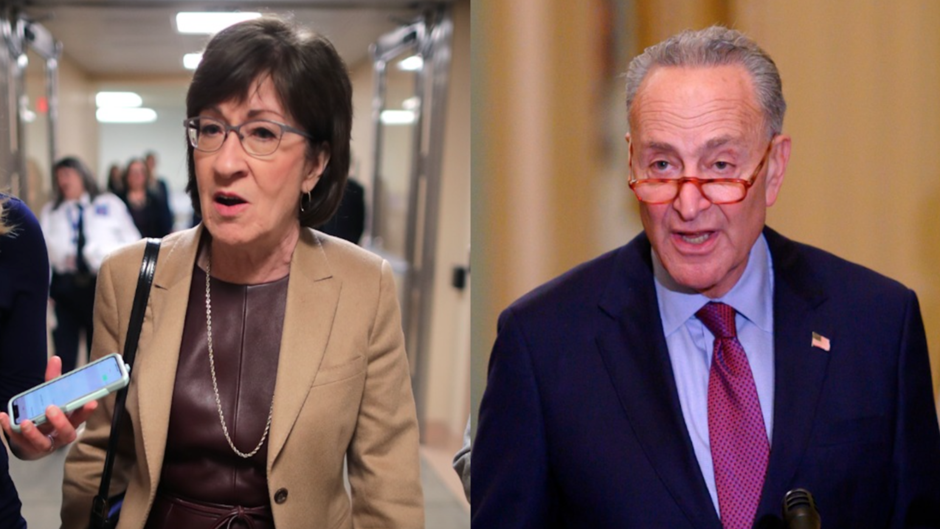 Photos of Sens. Susan Collins and Chuck Schumer.