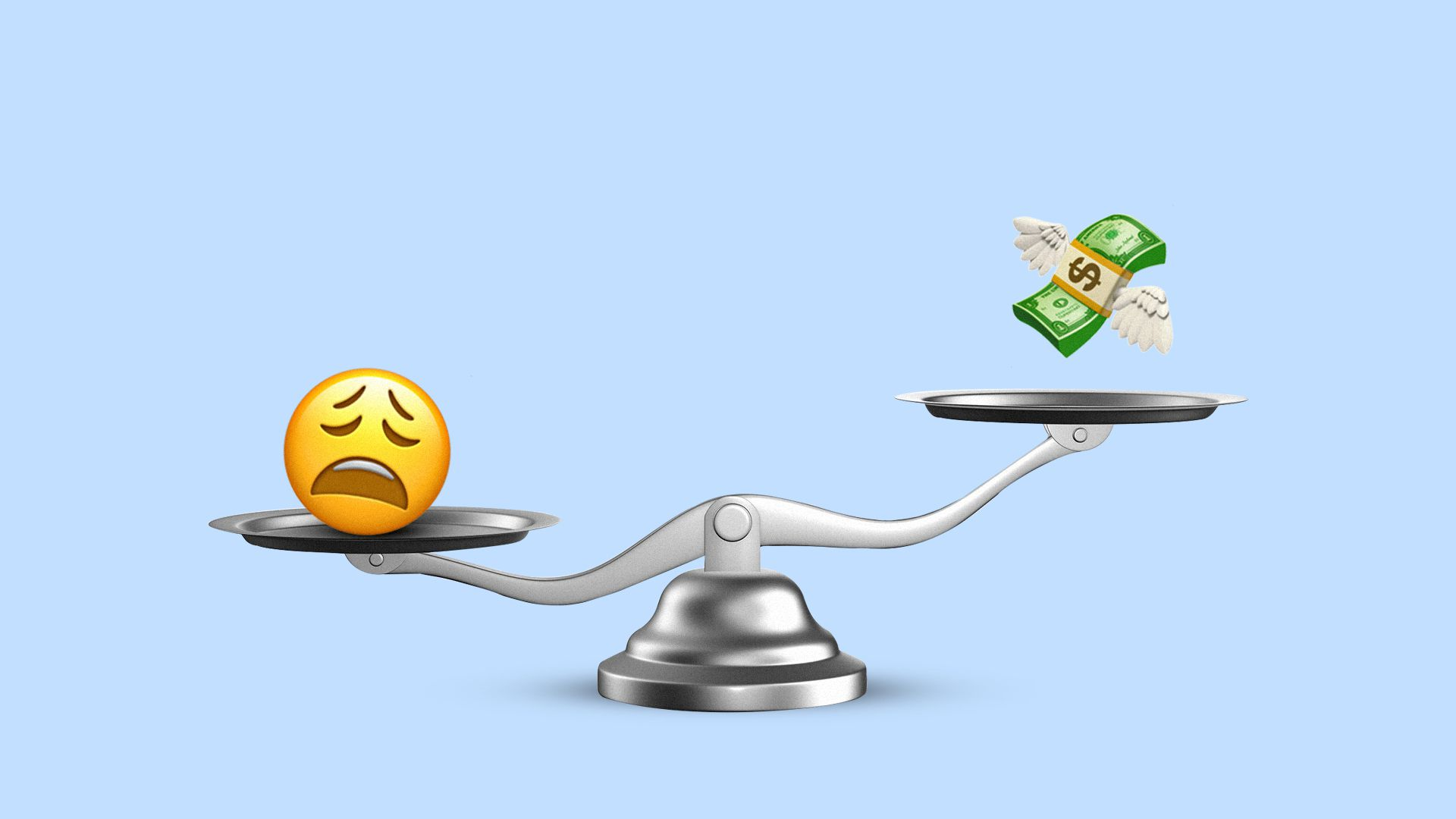 Illustration of a see saw with frustrated emoji on one side and a money emoji on the other