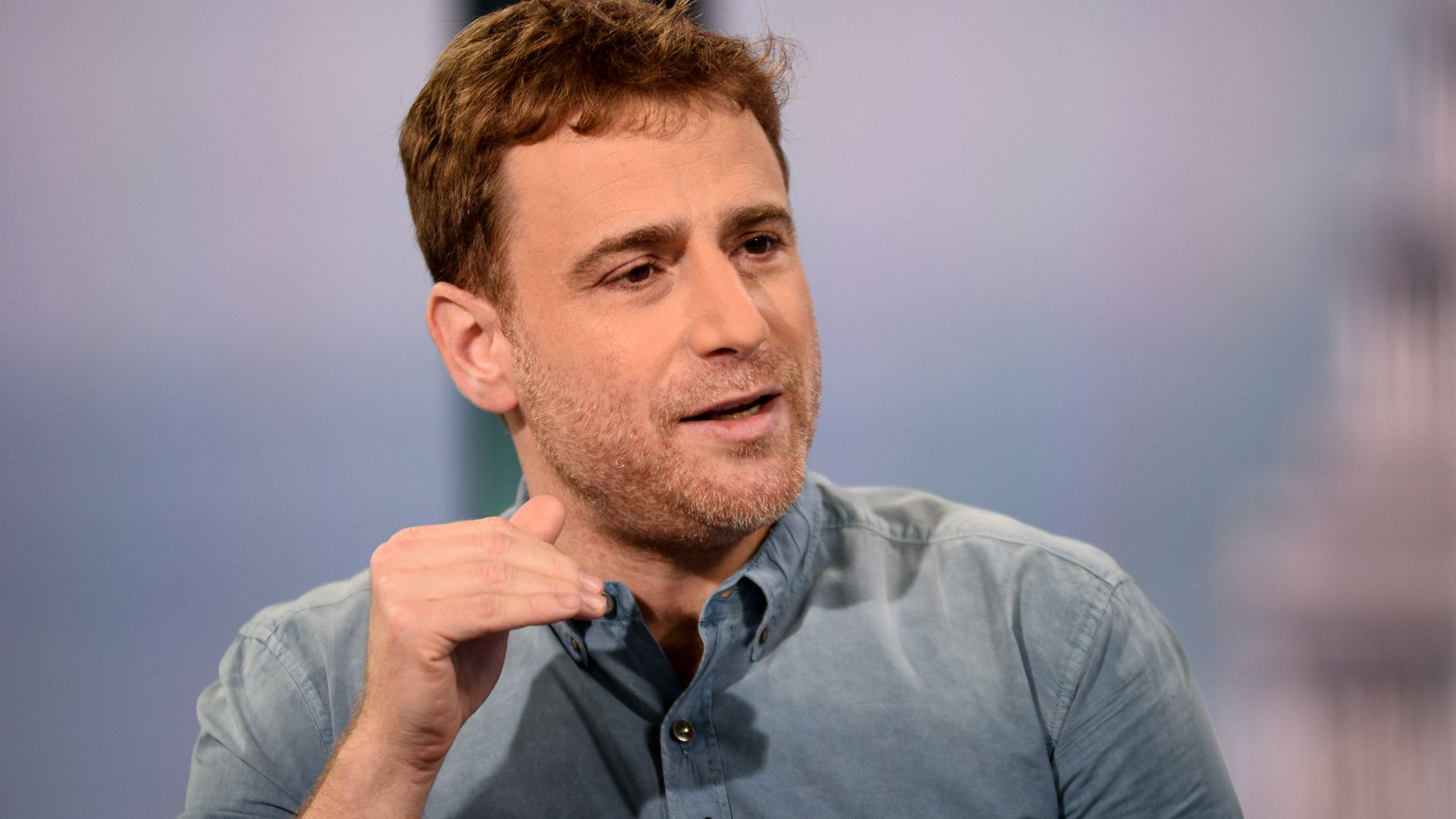 Stewart Butterfield sitting down for an interview with CNBC