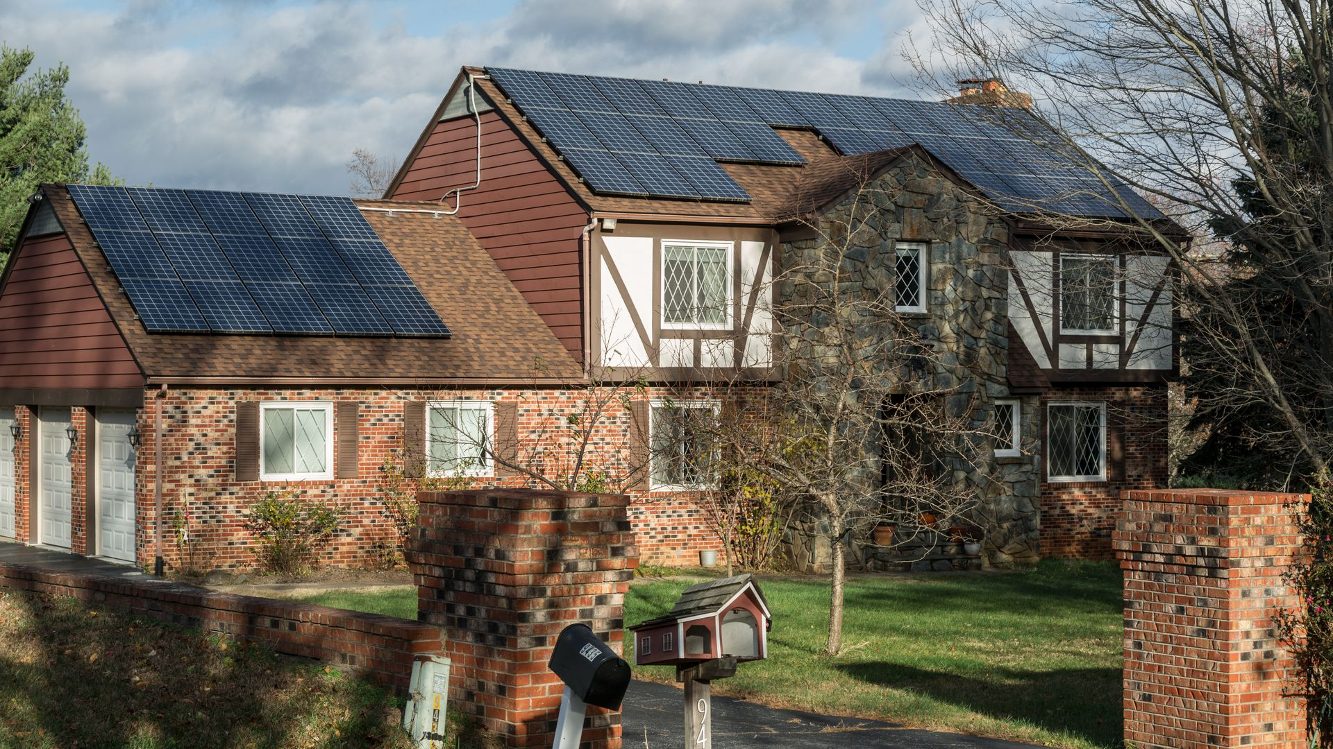 A house with solar panels built into the roof