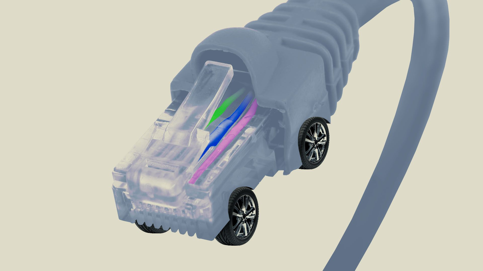 Illustration of an ethernet cable with car wheels