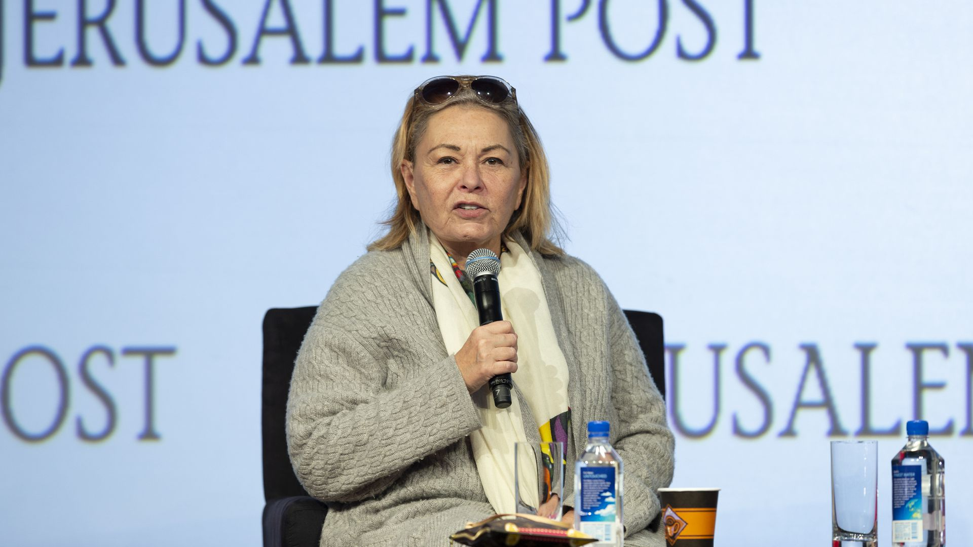 Roseanne Barr speaks on stage at an event in April