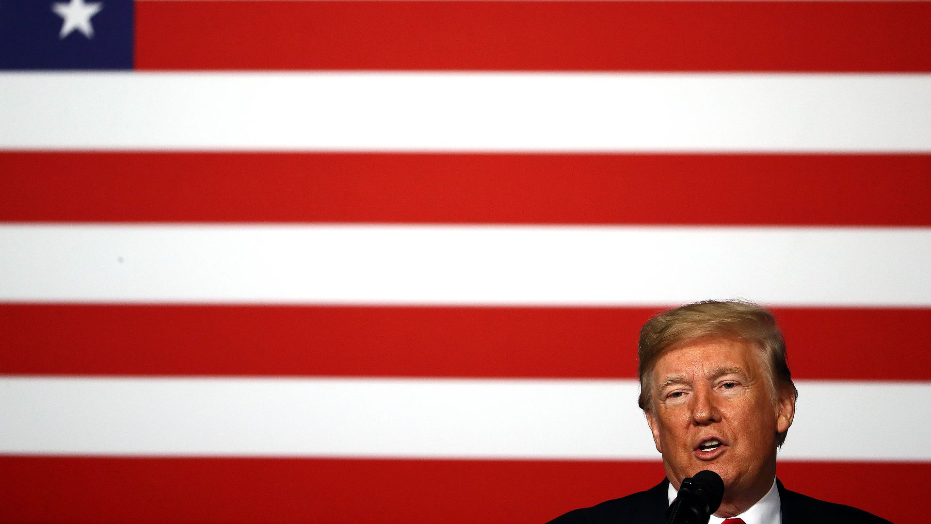 Trump with flag background