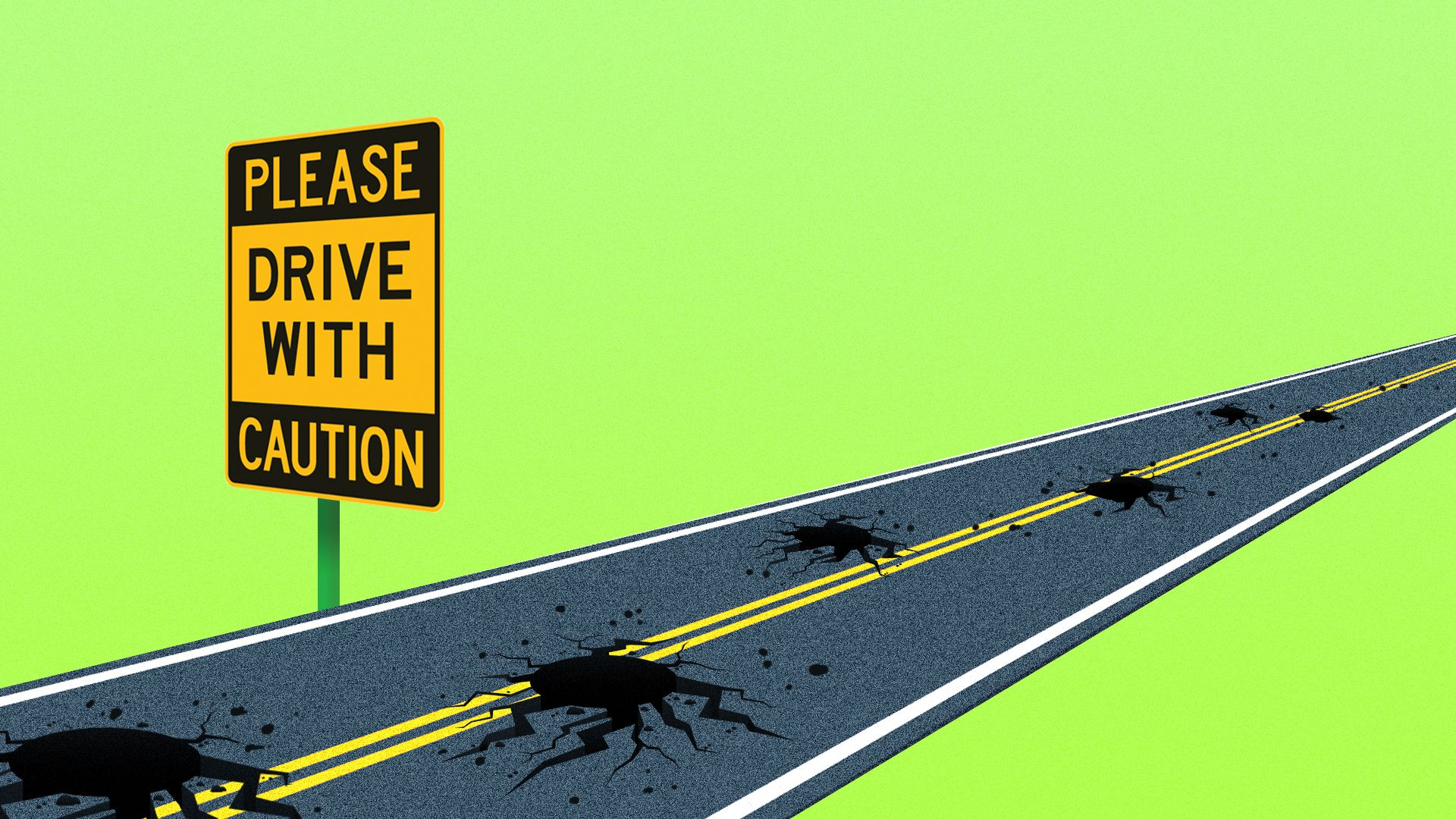 "An illustration of a pothole-filled road with a ""drive with caution"" sign"