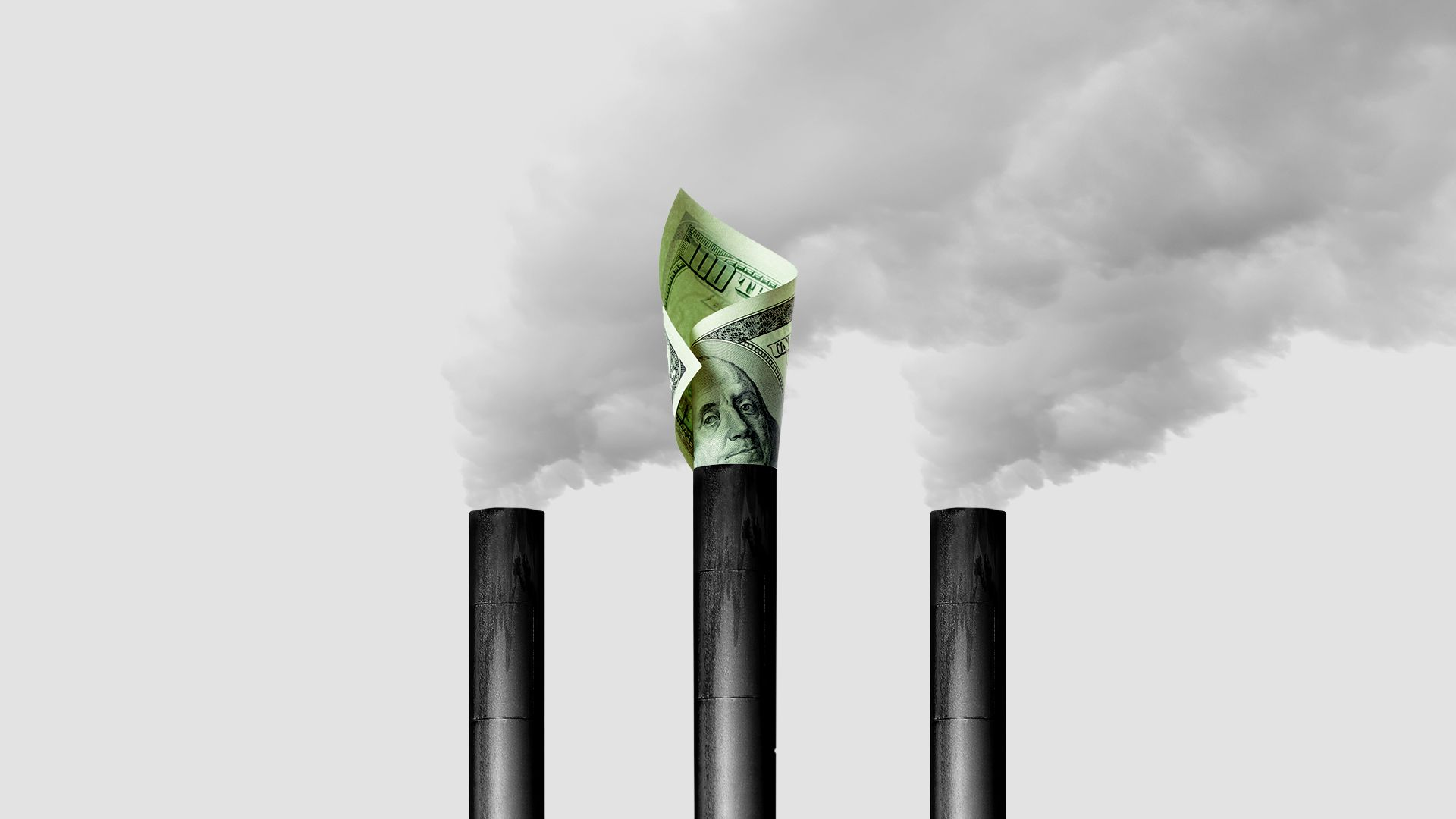 Illustration of rolled up money blocking a smoke stack