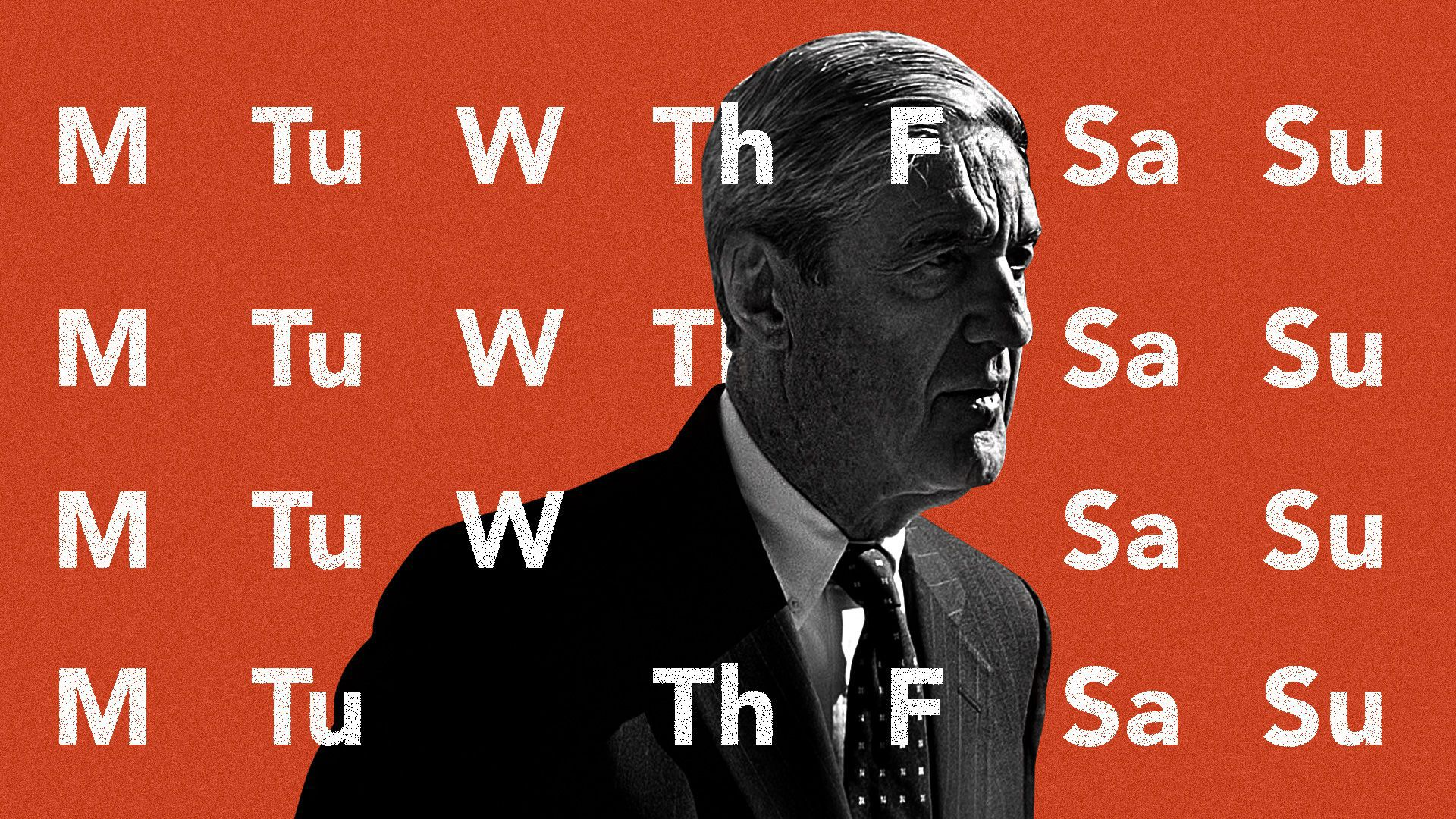 Robert Mueller on a calendar illustration