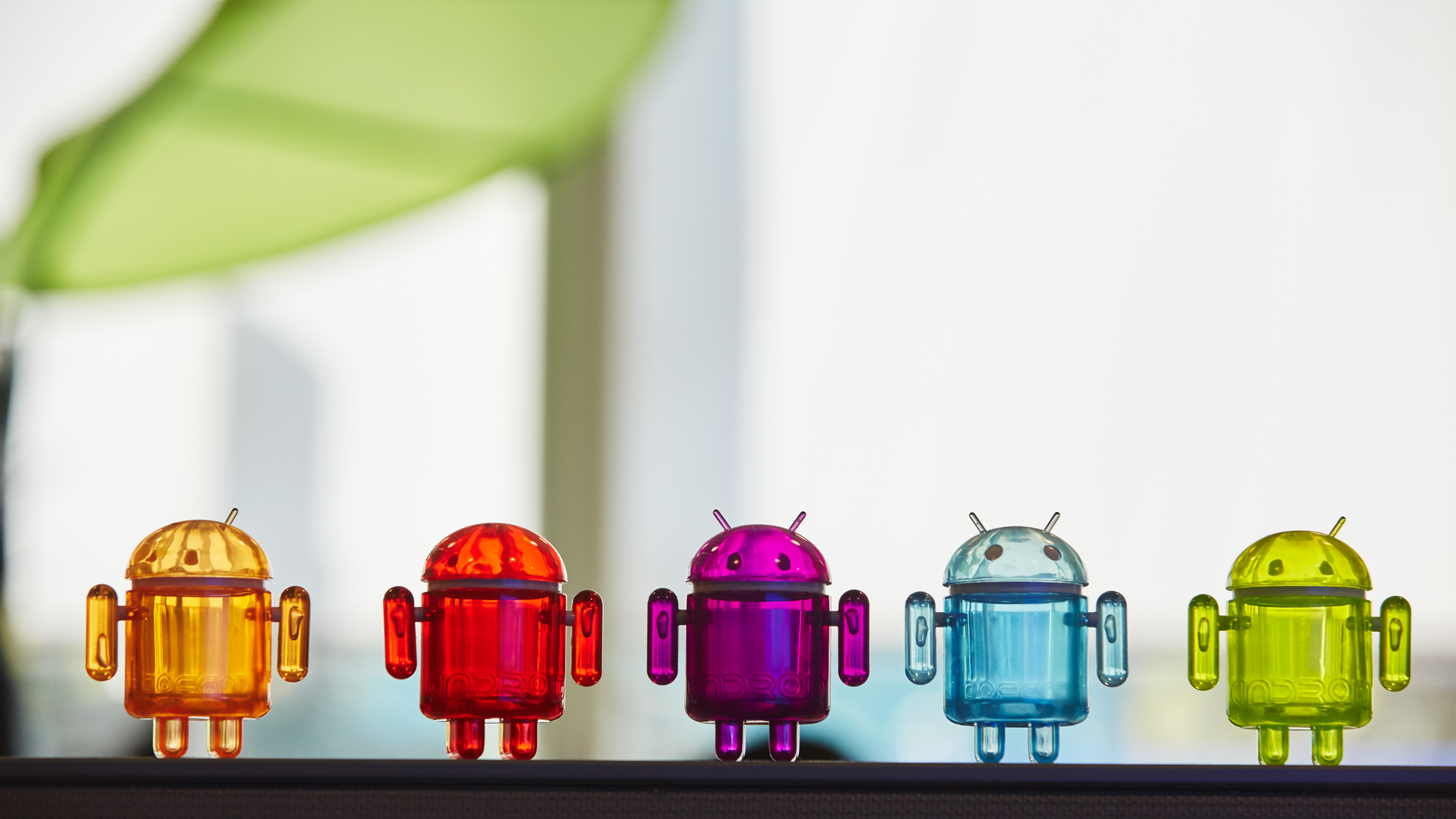 Some of Google's colorful Android toys as seen in a window