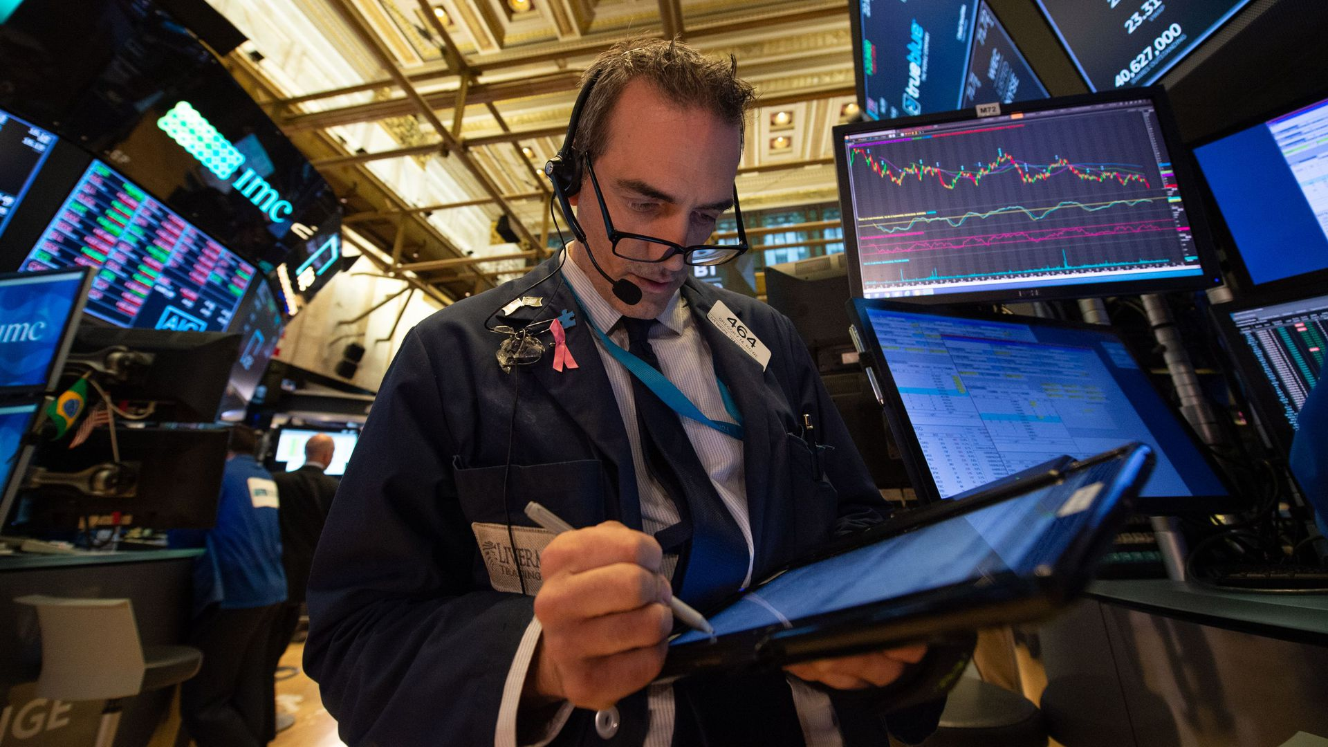 Trader on the floor of the new york stock exchange