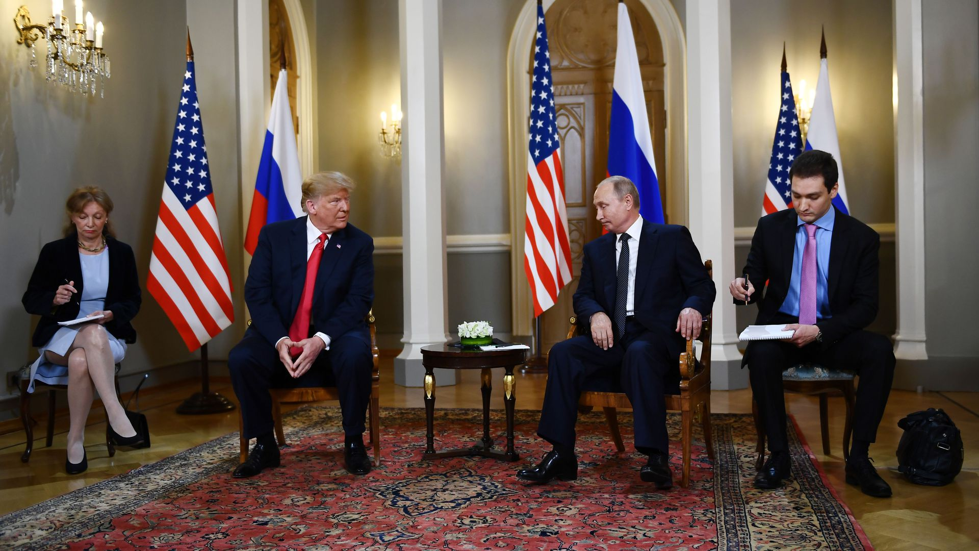 Donald Trump and Vladimir Putin begin meeting in Helsinki.