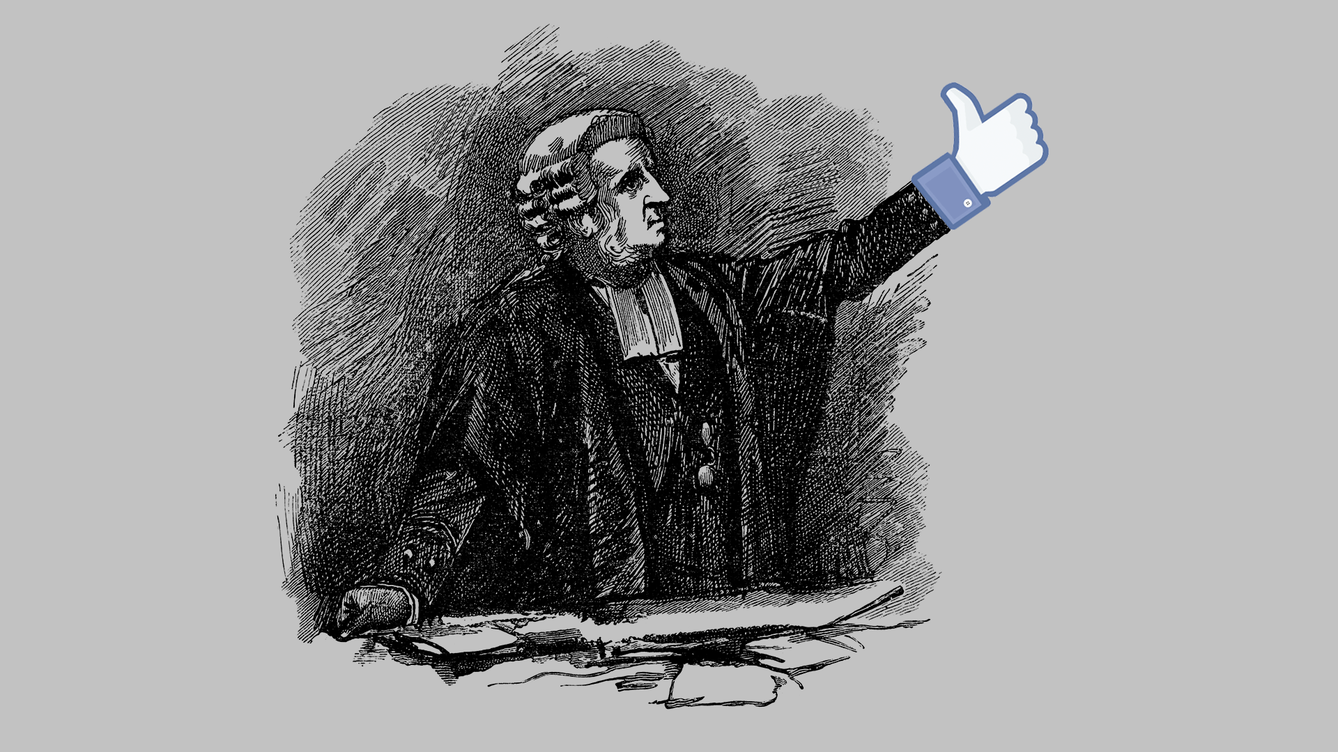 A black and white illustration of a founding father with a Facebook thumbs up icon as a hand