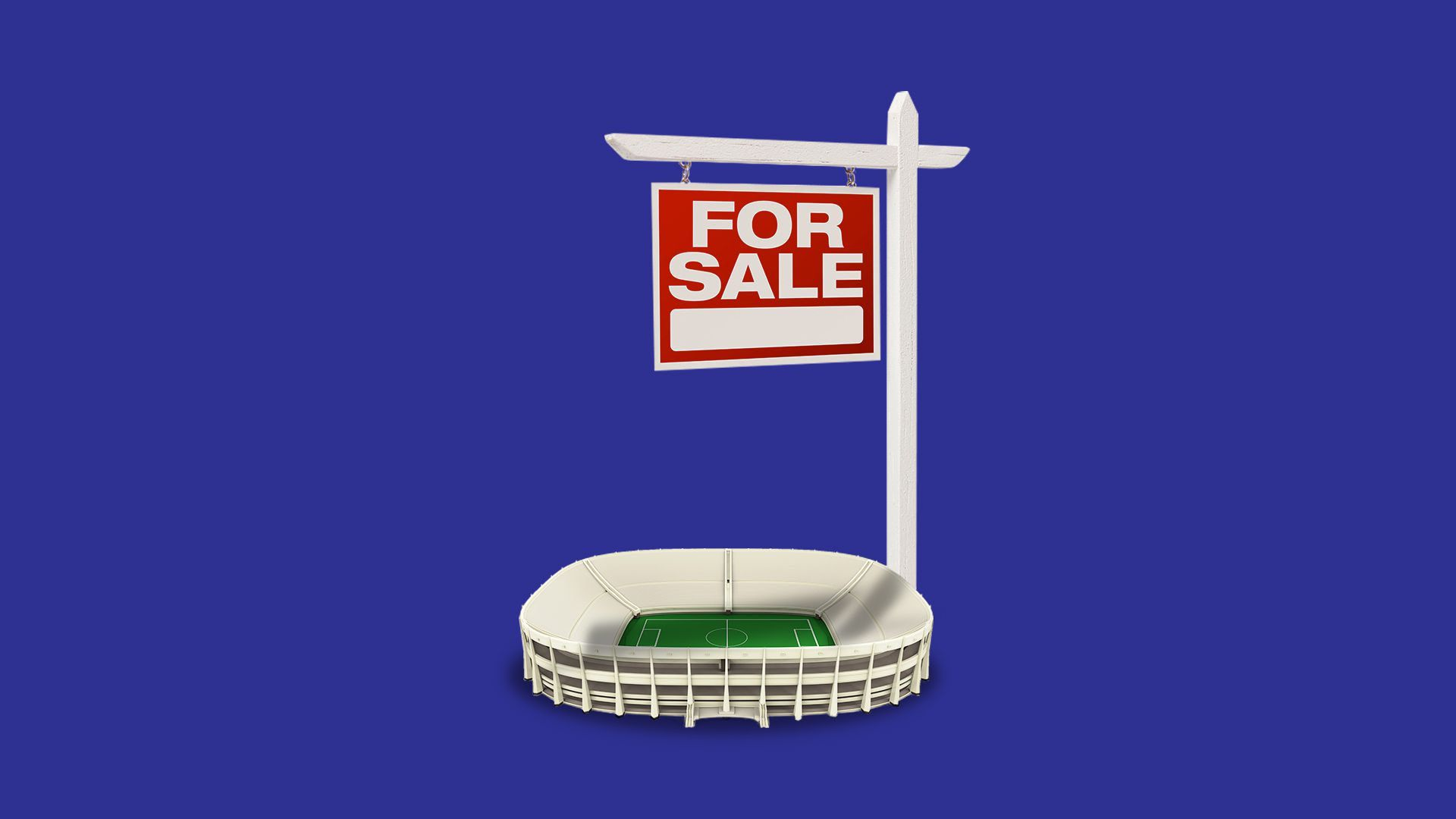 An illustration of a stadium with an oversized for sale sign on it.