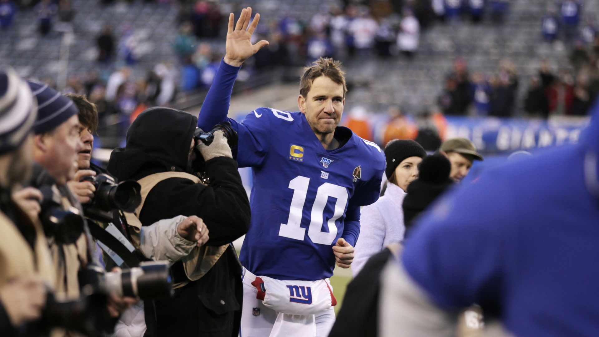 Eli Manning leaving Met Life Stadium after his last game in December
