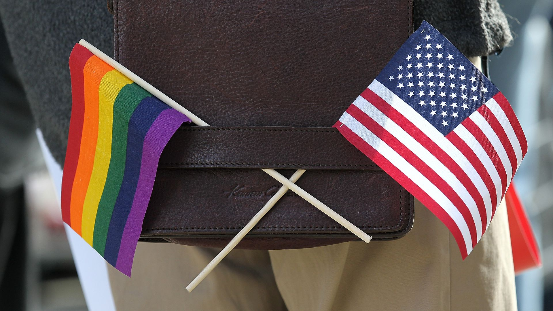 American flag and Pride flag