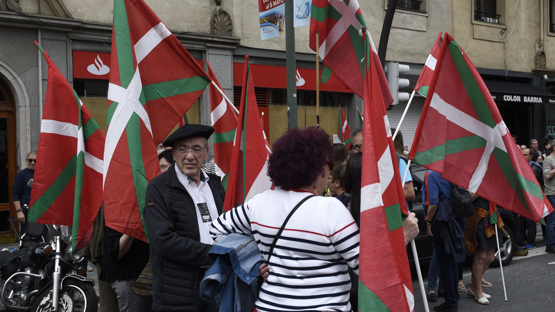 A group of basque separatism supporters rally in the city of Bilbao, northern Spain. Getty Images