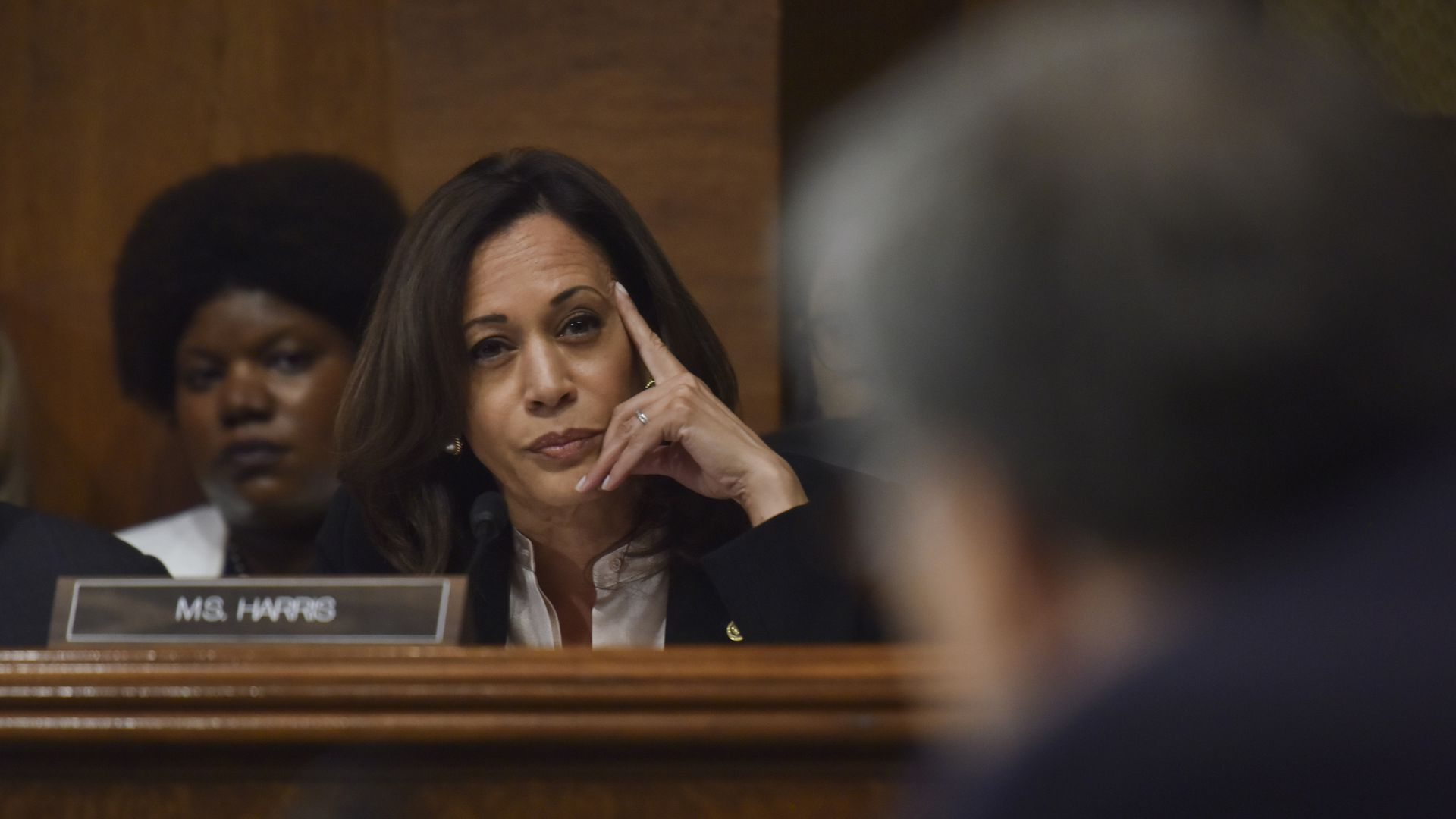 Sen. Kamala Harris (D-Calif.) questions Attorney General William Barr as Barr testifies before the Senate Judiciary Committee.