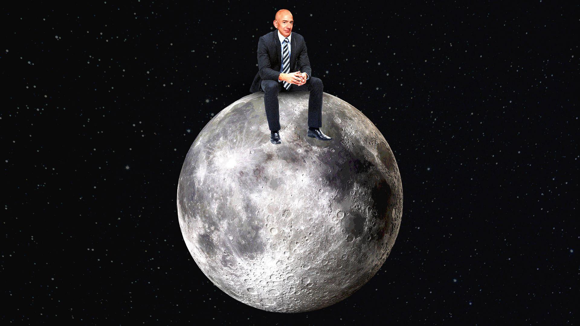 Illustration of Jeff Bezos sitting on the moon.