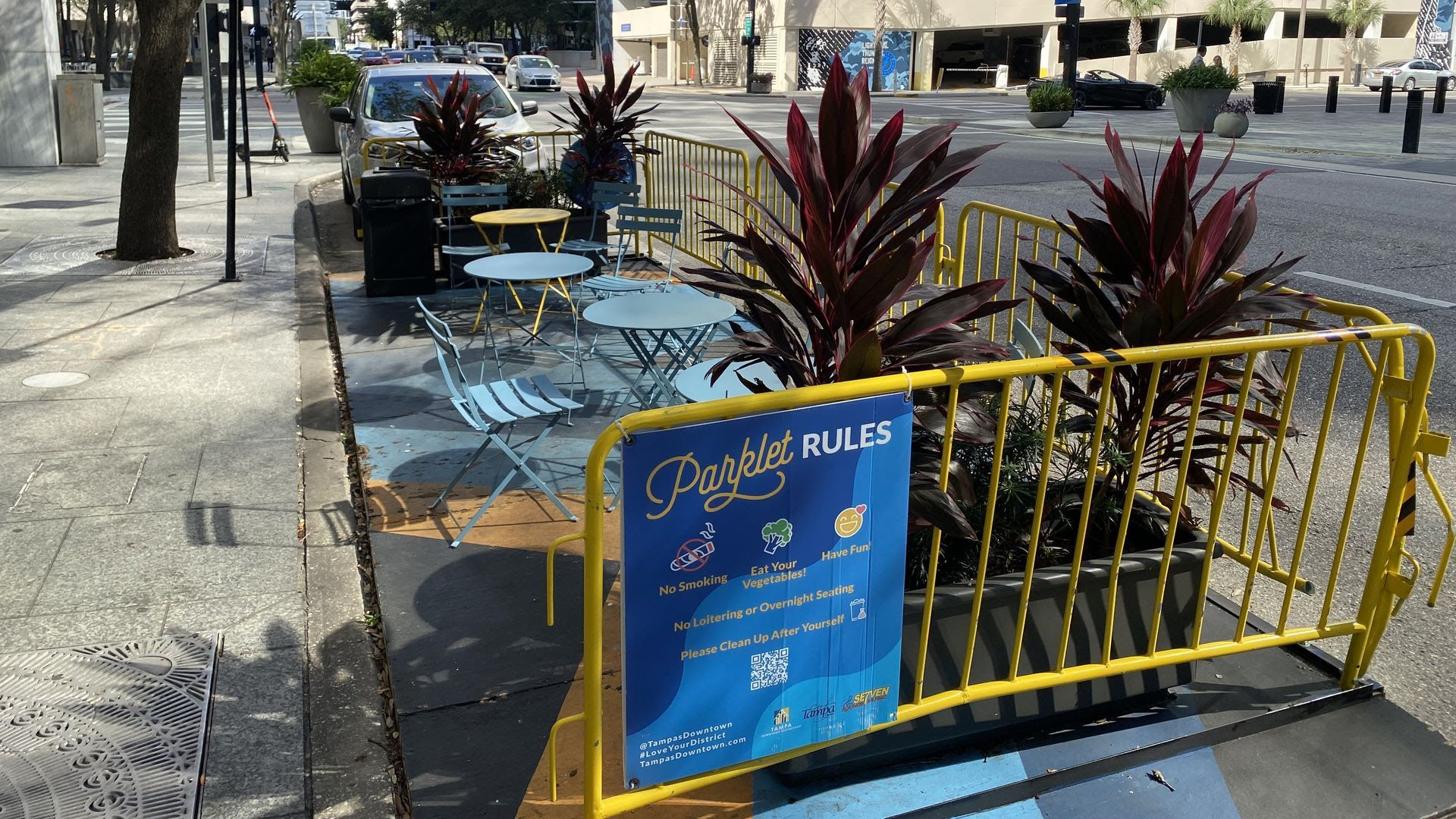 A Parklet outside the Pint and Brew in downtown Tampa.