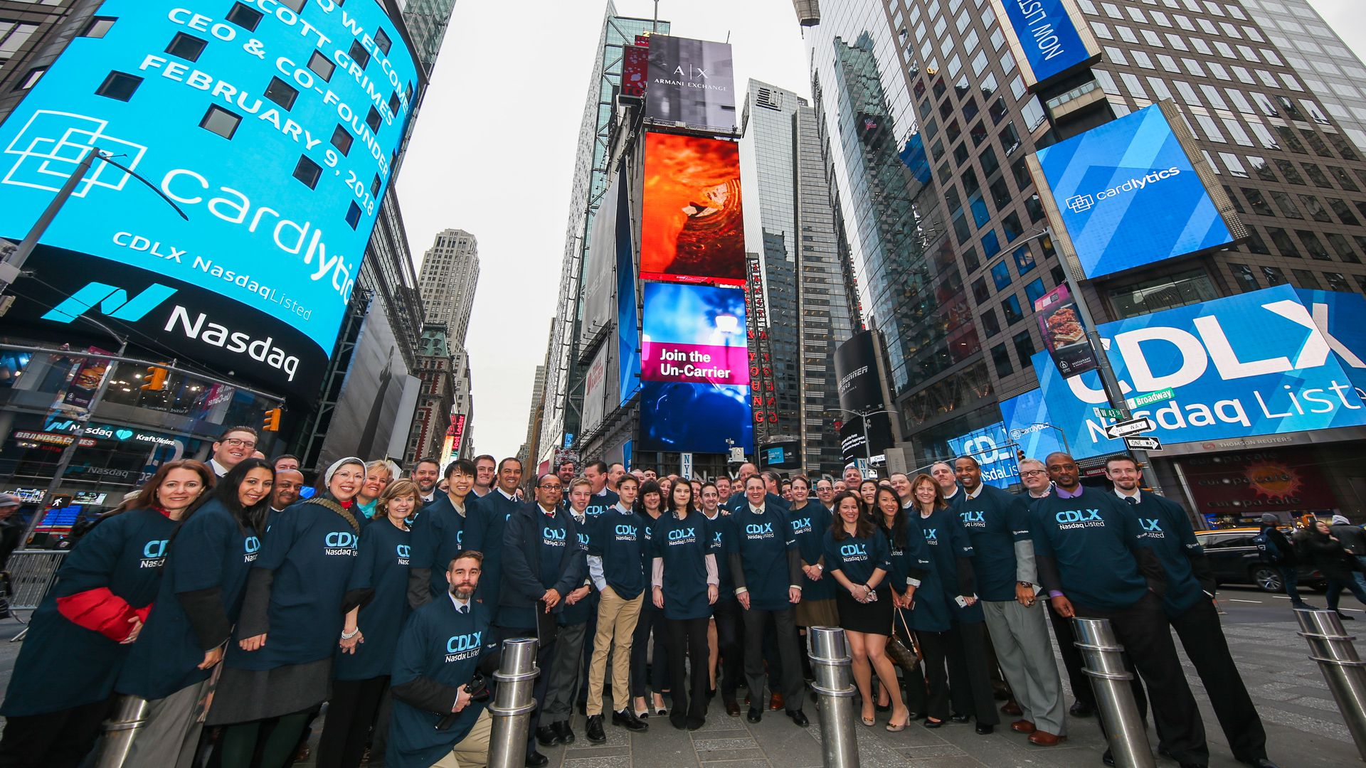 Cardlytics employees outside the NASDAQ Market Site in Times Square