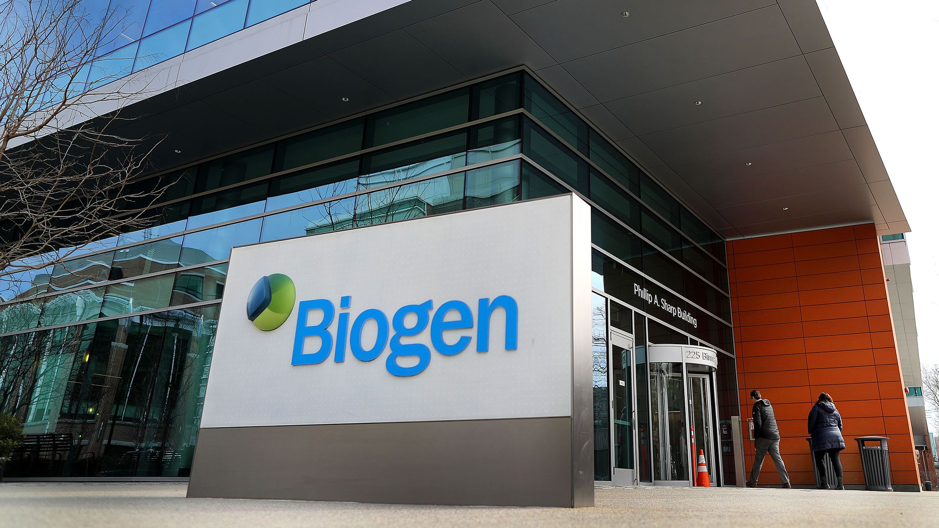 A Biogen sign in front of its headquarters building.