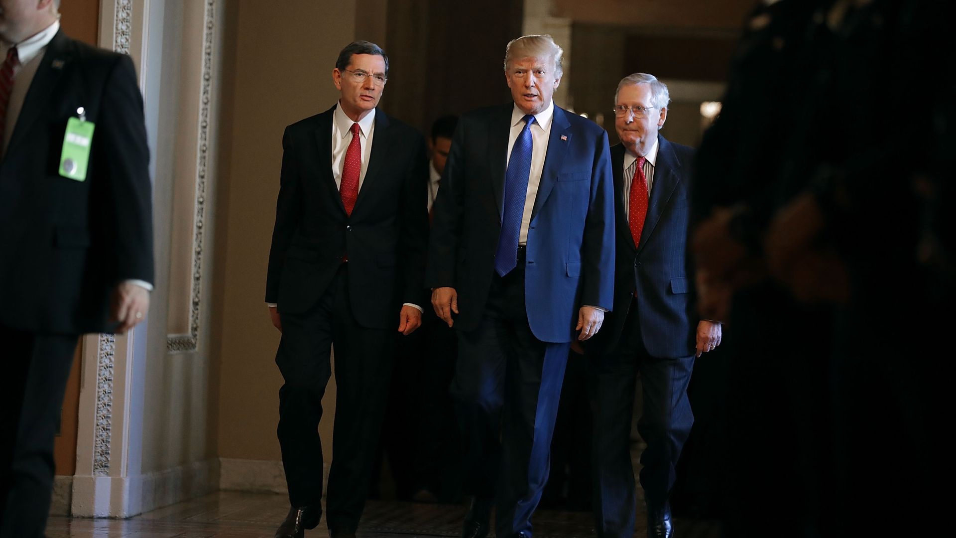 President Trump with Sens. John Barrasso and Mitch McConnell