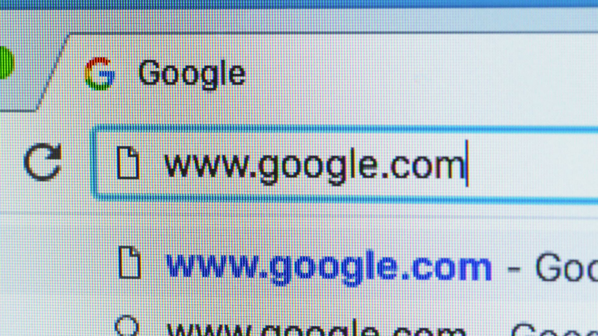 Google.com in a search bar