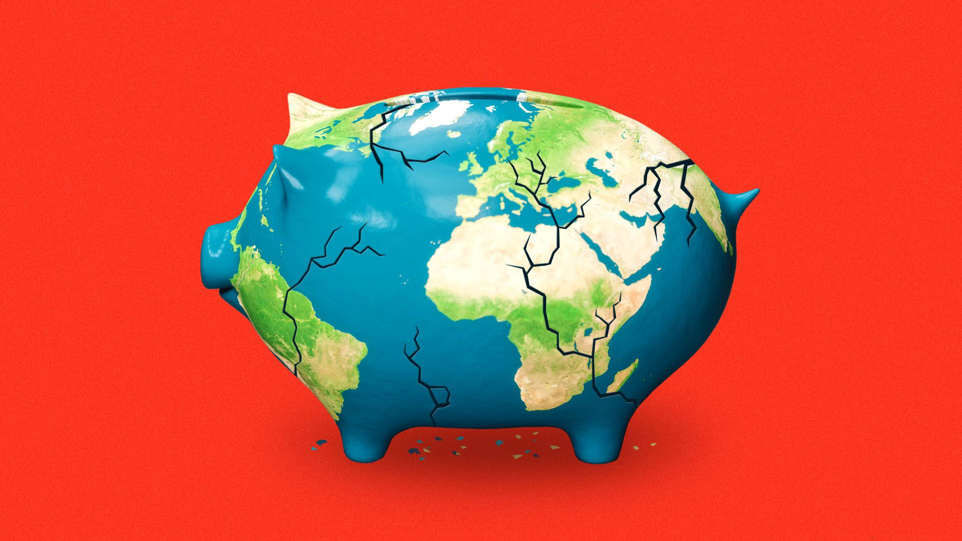 Illustration of a cracked piggy bank shaped like the earth.