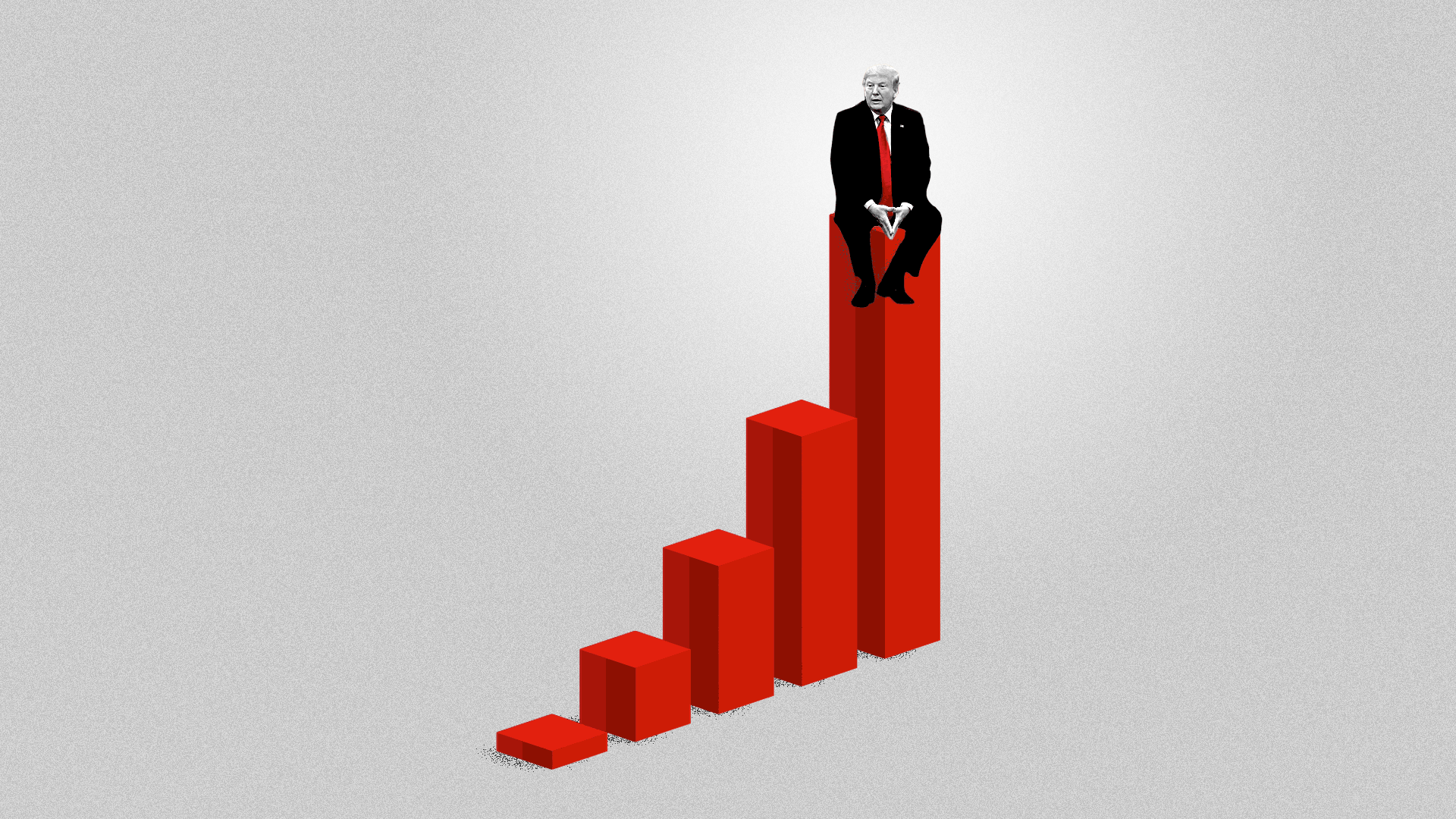 Illustration of President Trump sitting on the tallest of five bars of a bar chart.