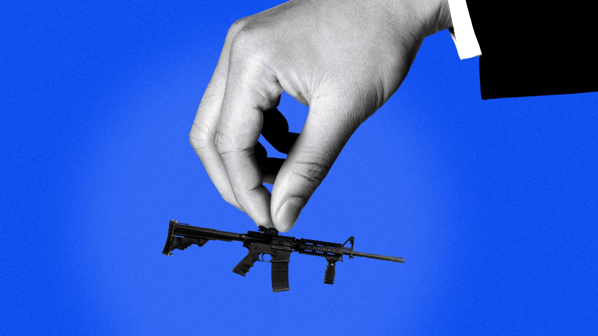 llustration of a giant hand in a suit holding a tiny AR-15