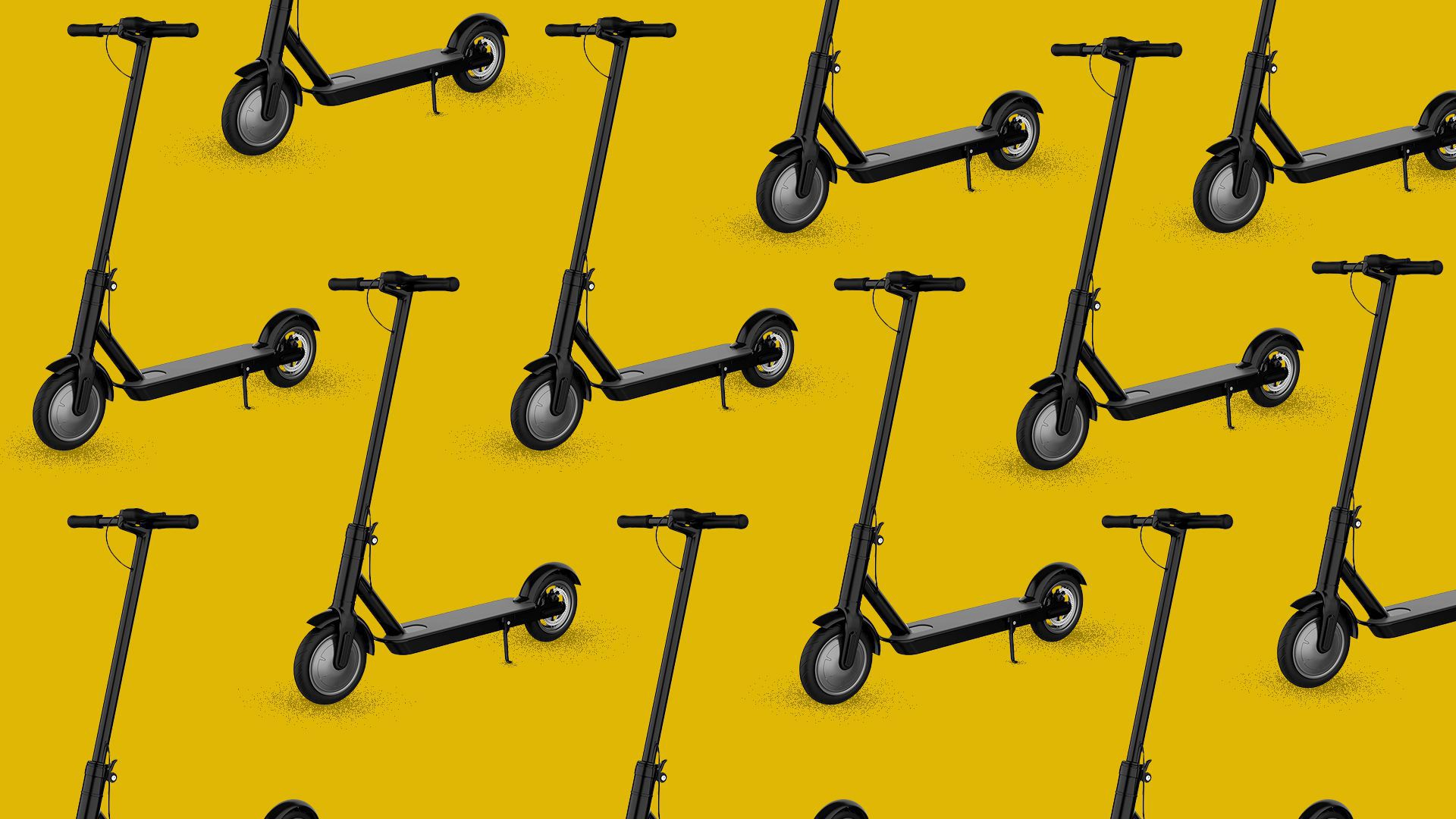 Illustration of a pattern of scooters.