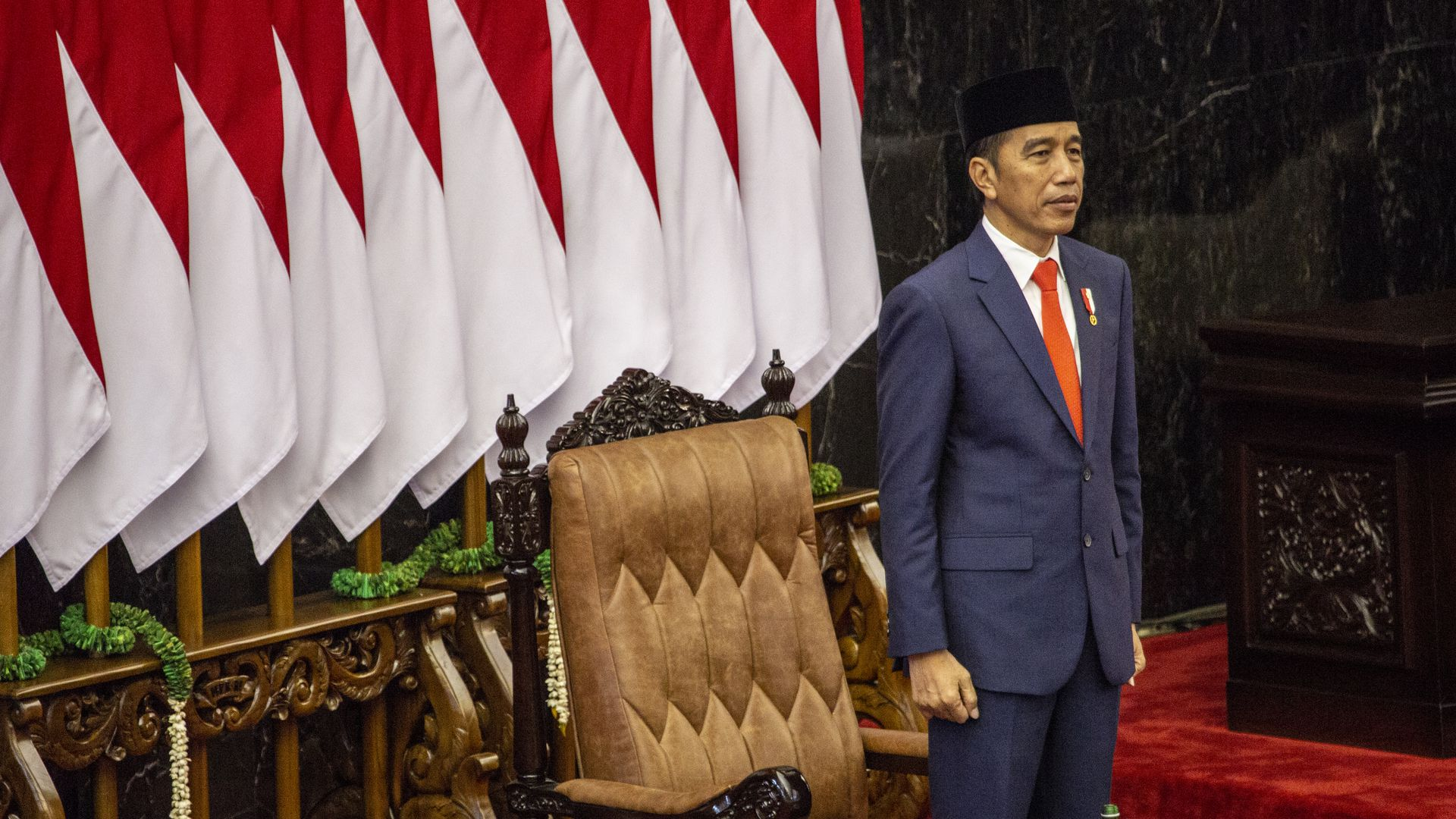 Joko Widodo standing on stage at his second inauguration ceremony