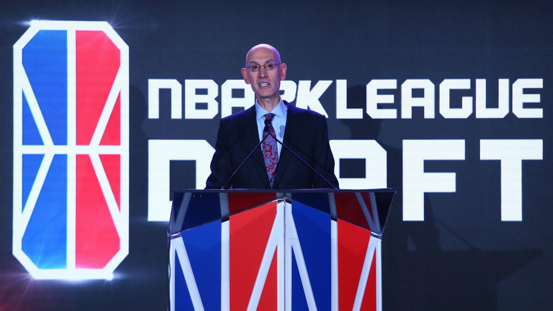 NBA Commissioner Adam Silver at the NBA 2k league draft
