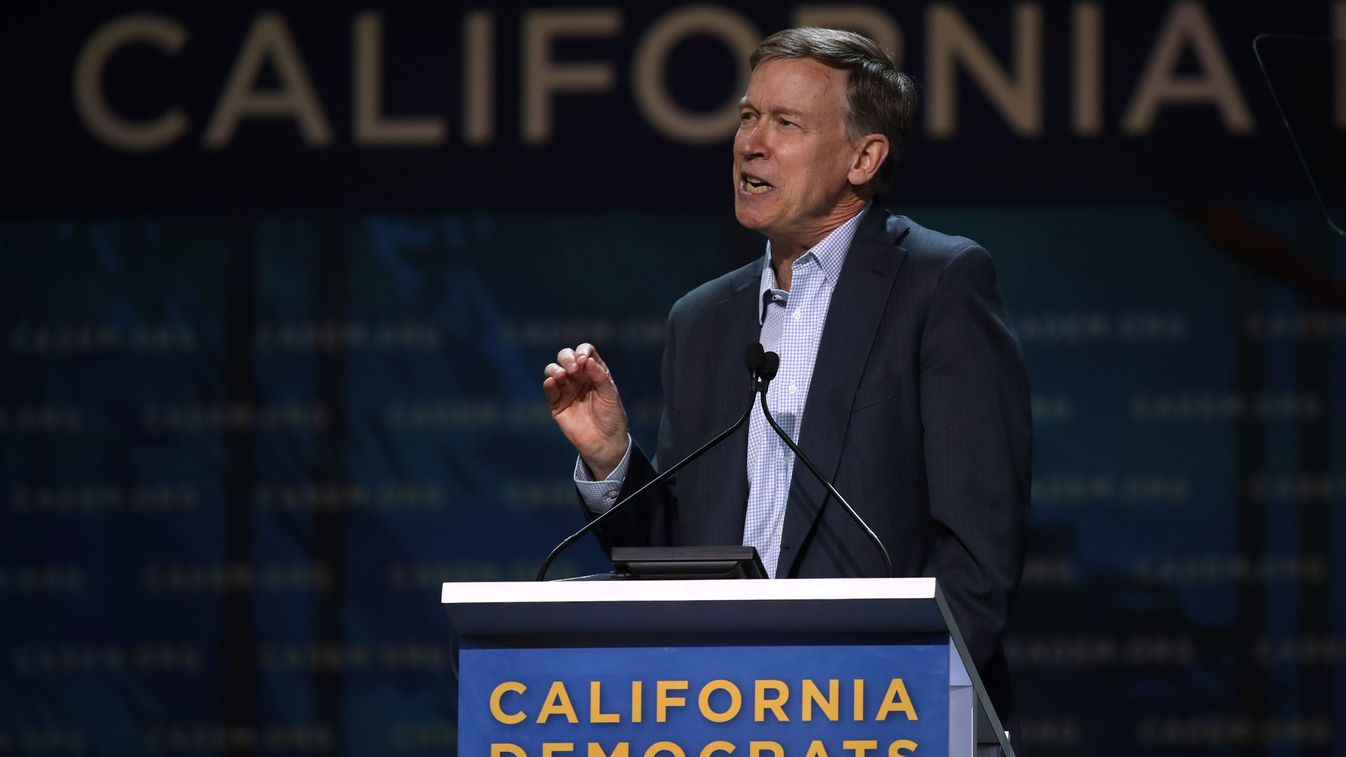 Democratic presidential candidate former Colorado Gov. John Hickenlooper speaks during the California Democrats 2019 State Convention on June 01, 2019 in San Francisco, California.