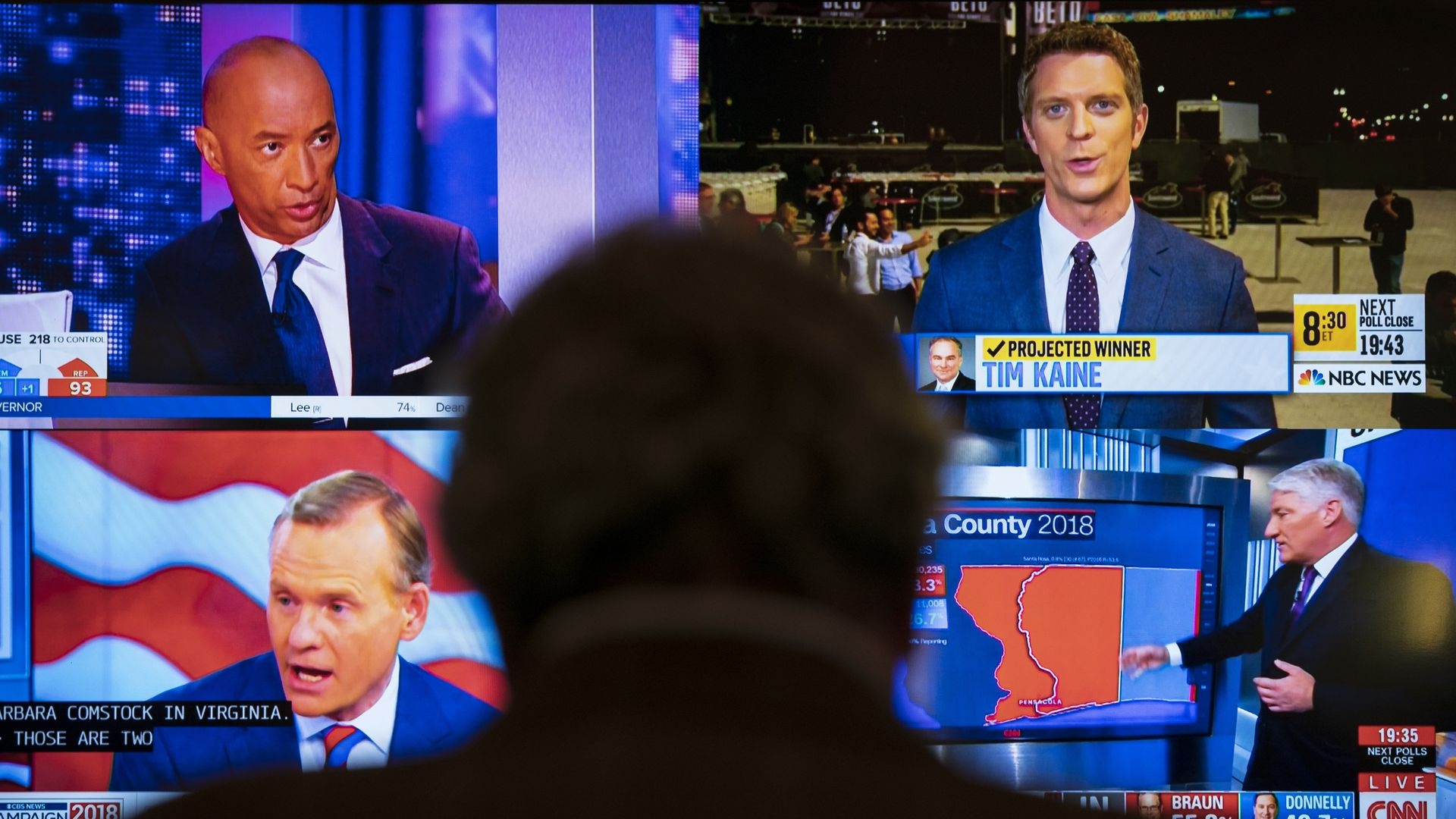 Man staring at four different news coverage outlets for election night coverage.