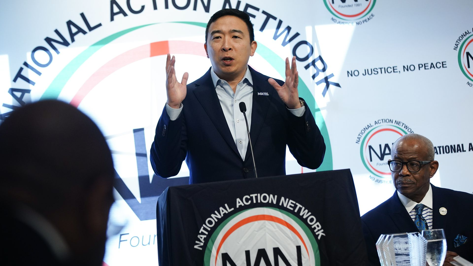Democratic presidential candidate Andrew Yang speaks at the National Action Networks Southeast Regional Conference on November 21, 2019 in Atlanta, Georgia.