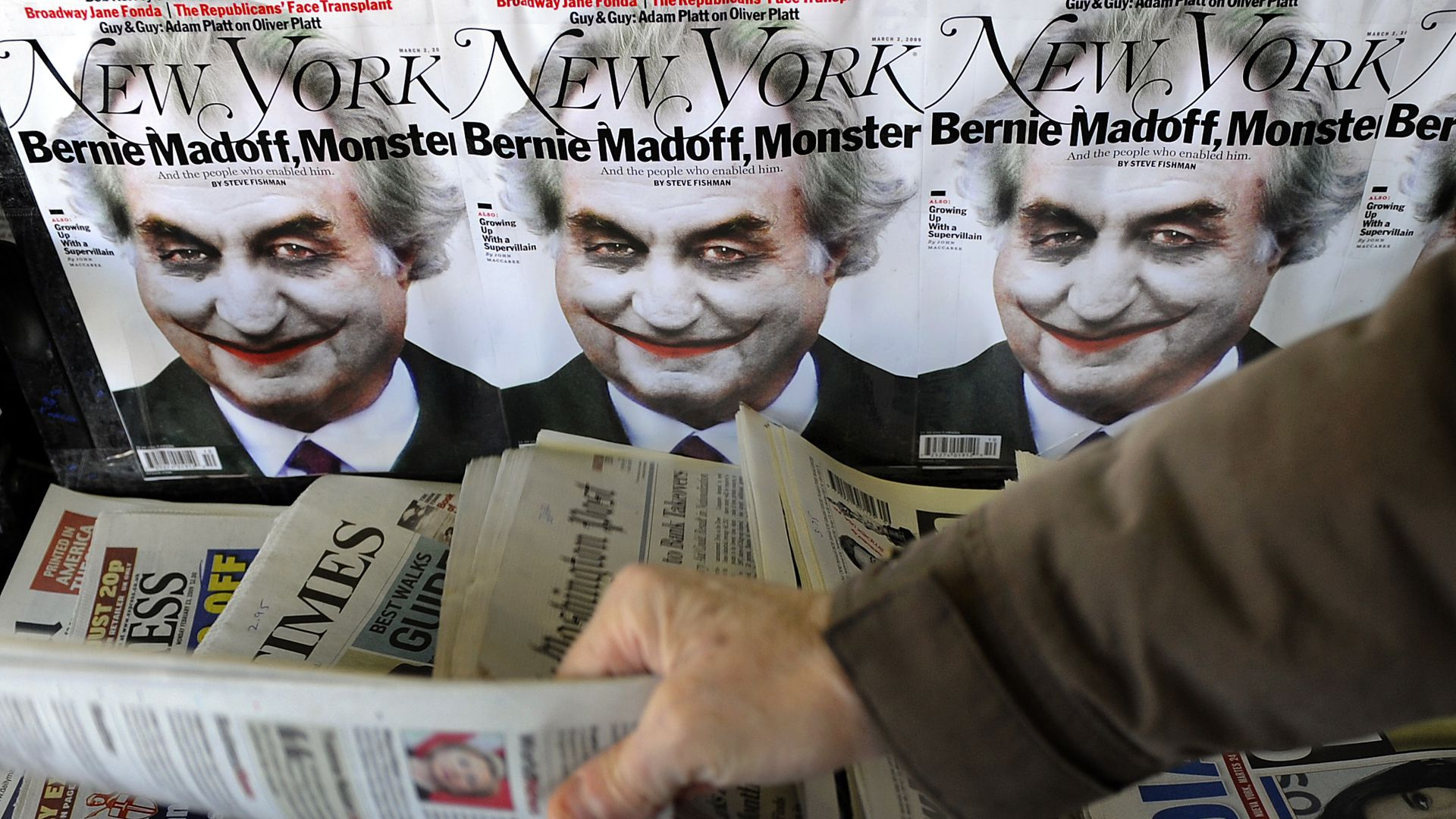 An illustration of Bernard Madoff portrayed as the 'Joker' from Batman on the cover of New York Magazine.