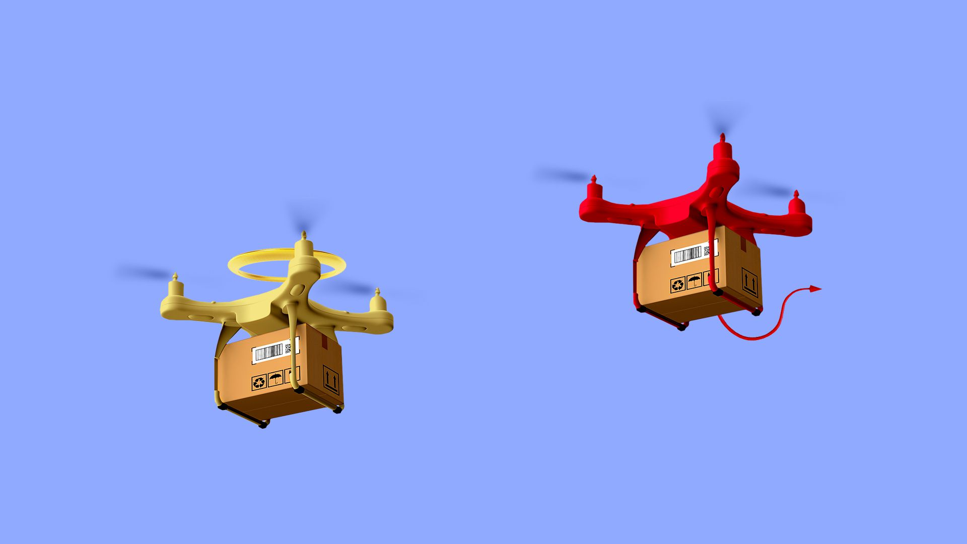 Illustration of angel and devil delivery drones