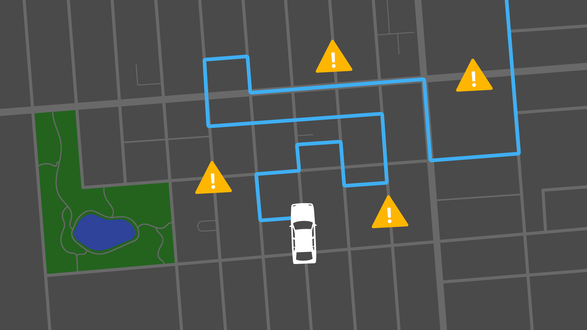 Uber route map with hazard signs placed on a twisty route
