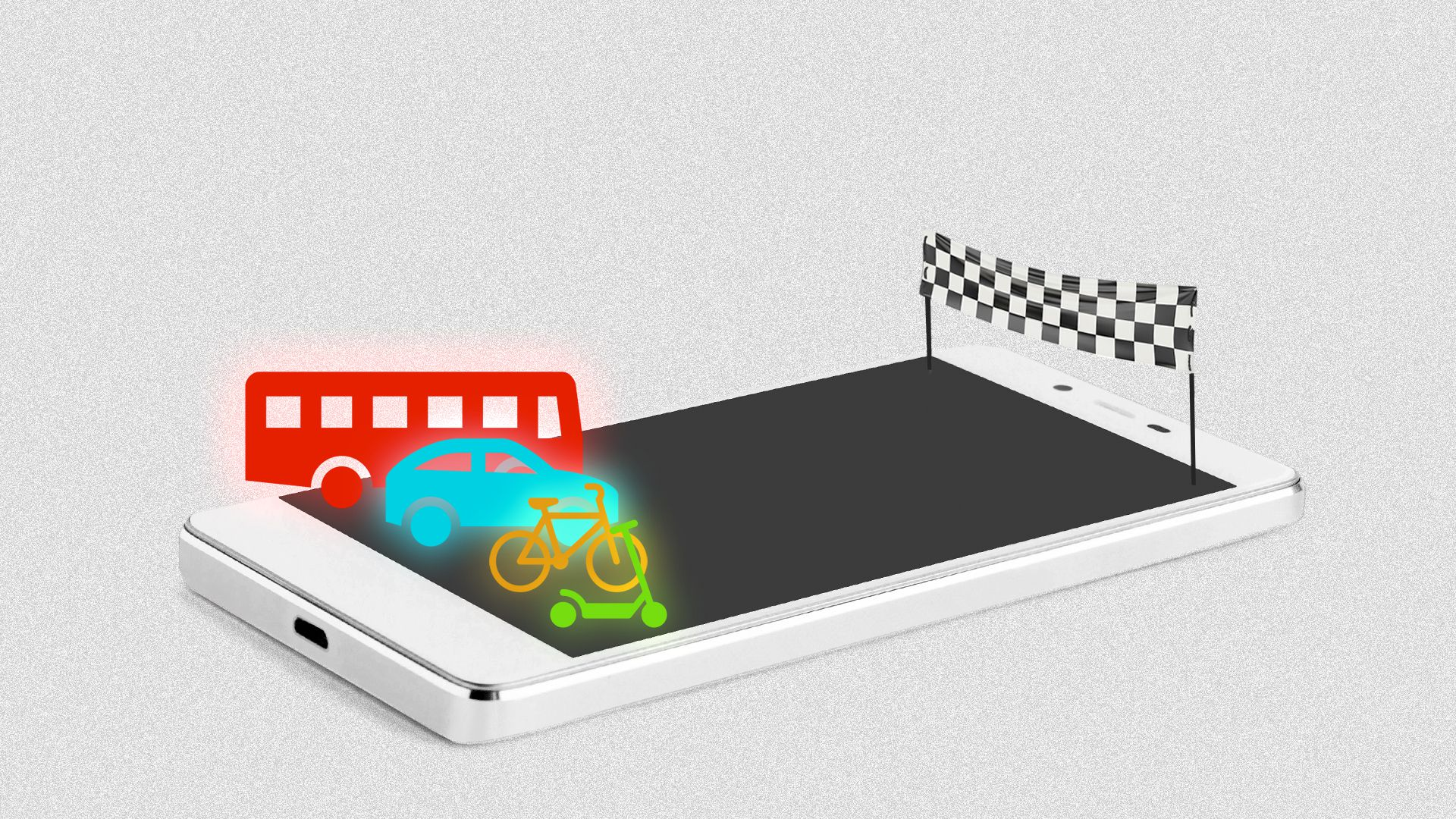 Illustration of a cellphone as a race track with a bus, a car, a bicycle and a scooter about to race.