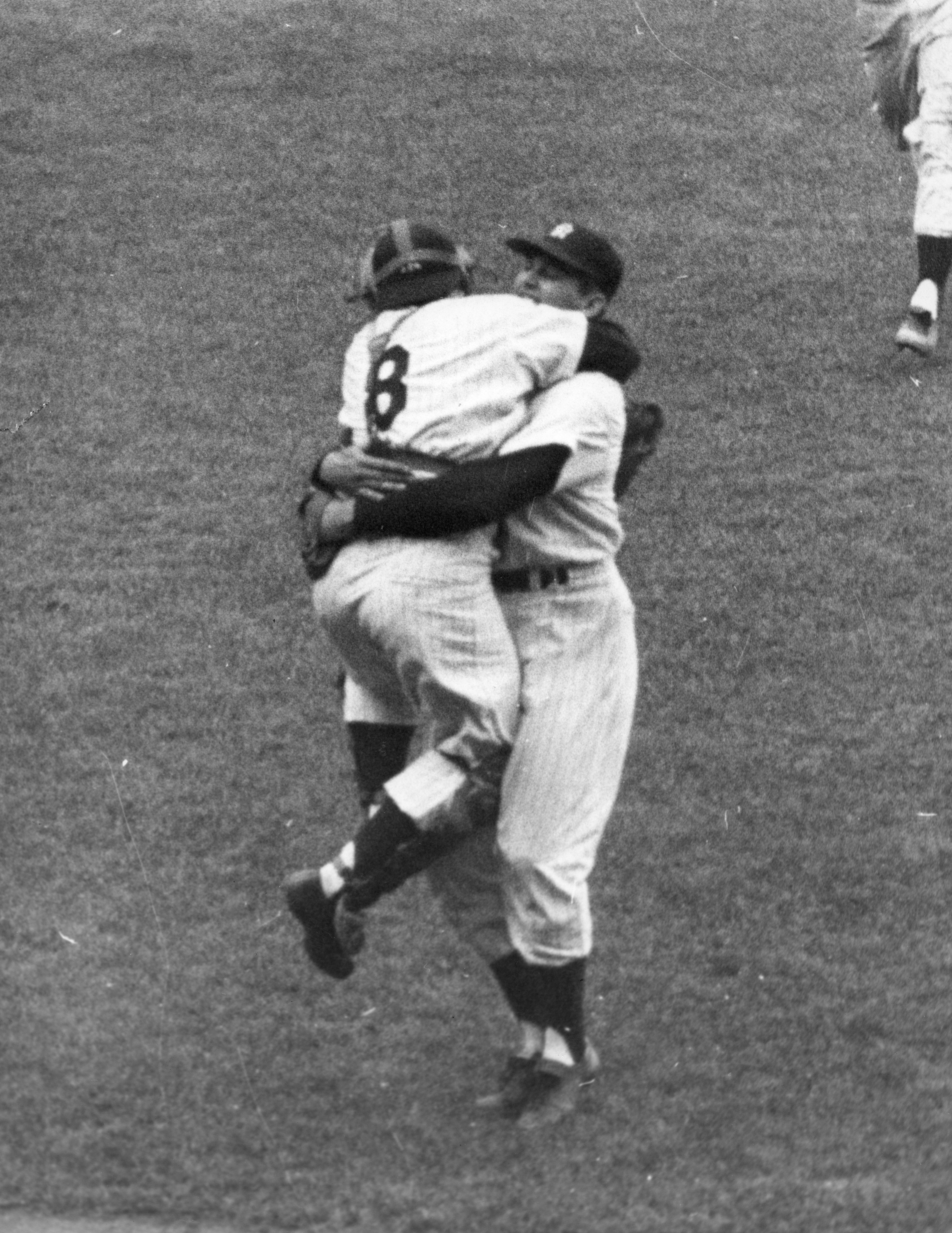 Yogi Berra hugging Don Larsen