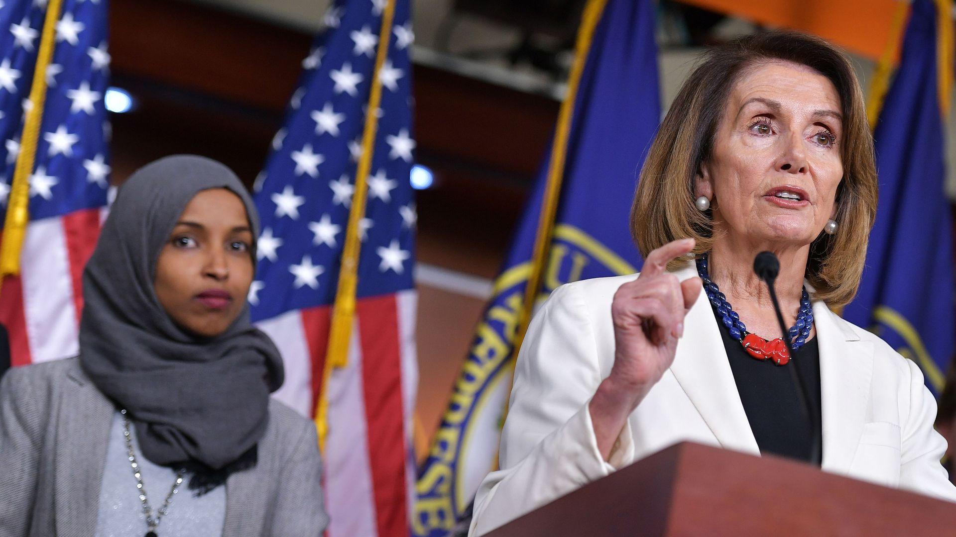House Speaker Nancy Pelosi and Rep. Ilhan Omar (D-Minn.)