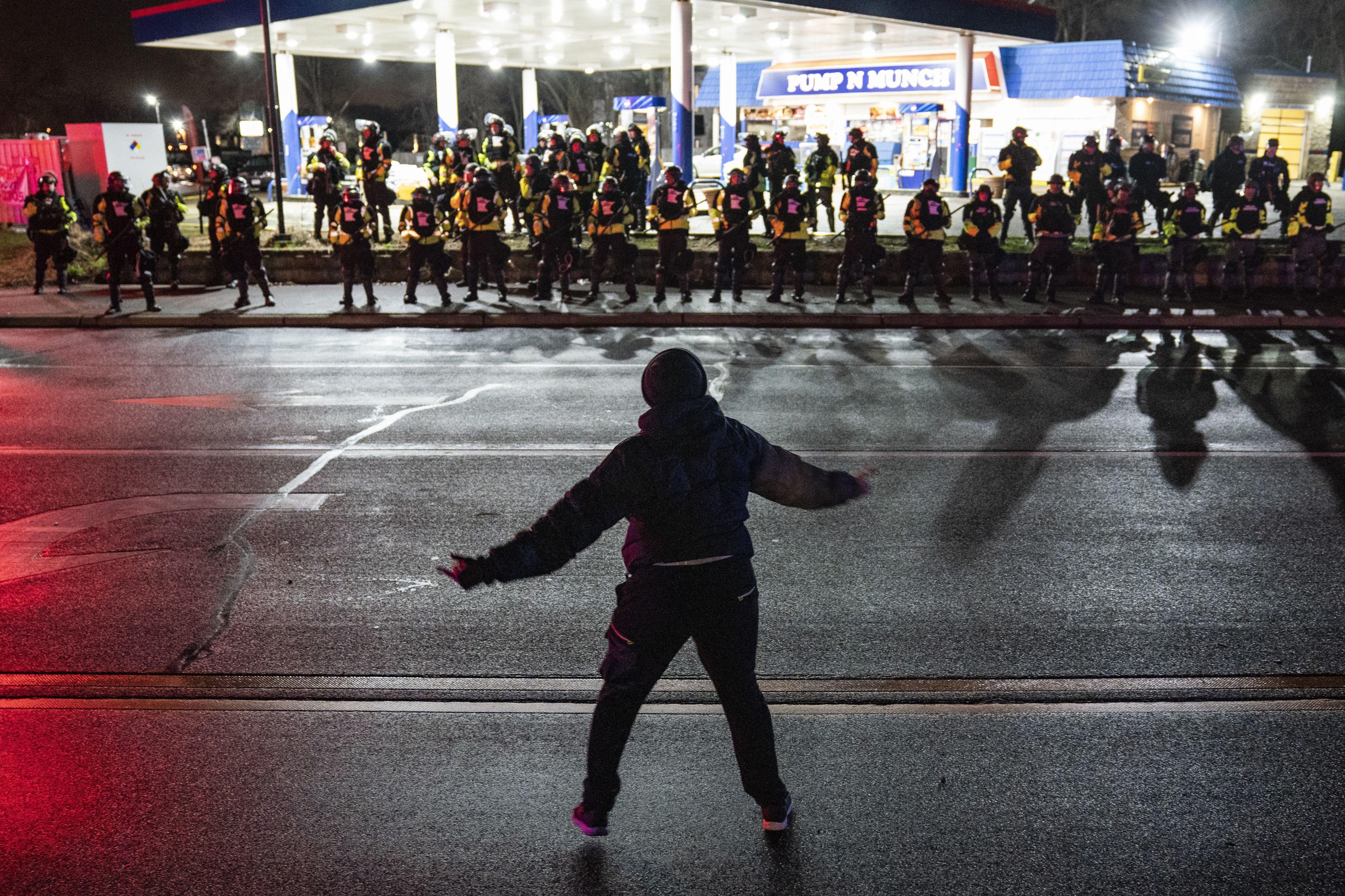 Protester heckling police