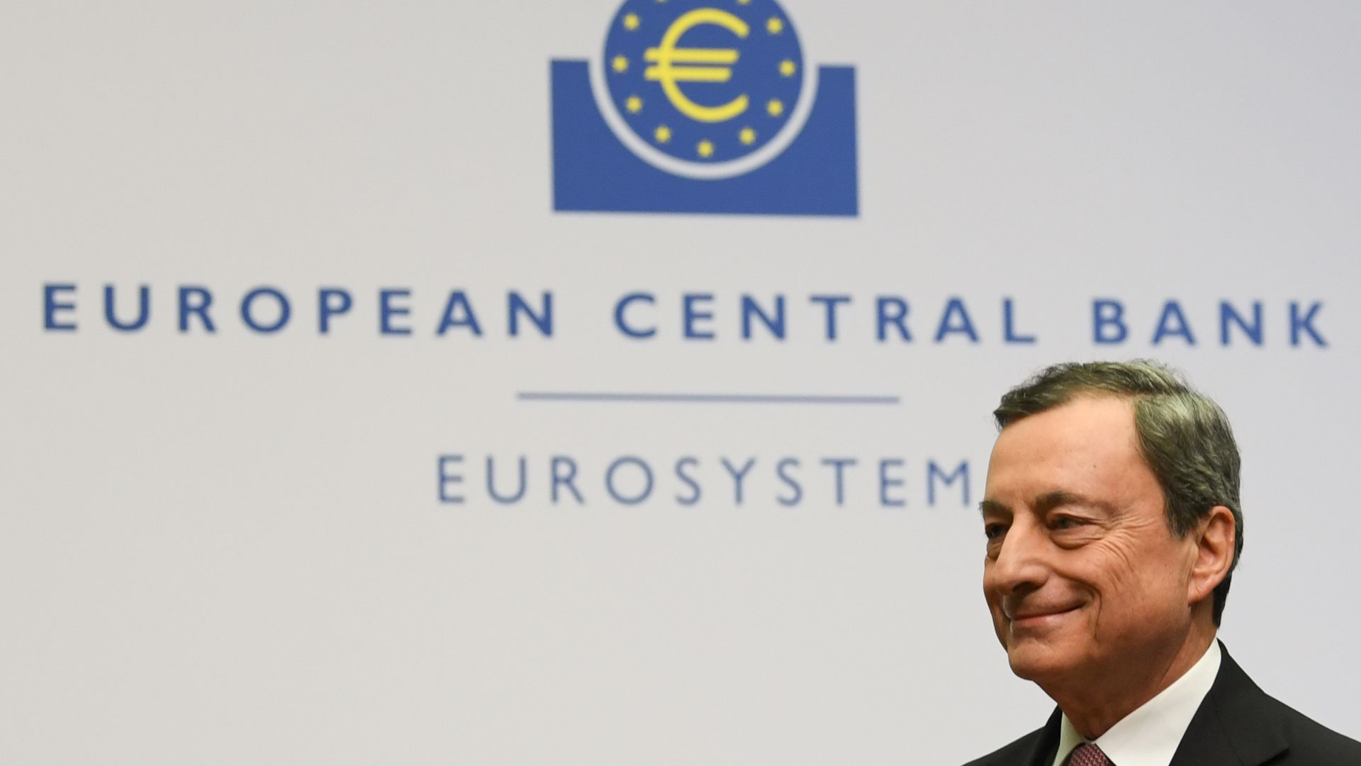 Mario Draghi, President of the European Central Bank (ECB) at a press conference at the ECB's headquarters
